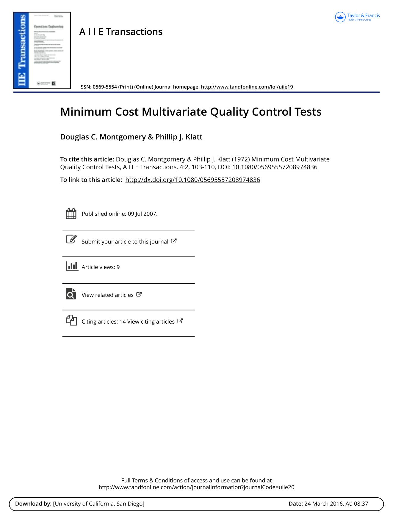 หน้าปก Minimum Cost Multivariate Quality Control Tests