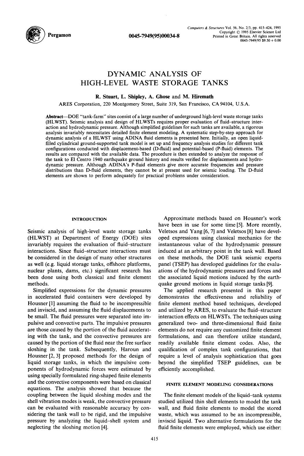 पुस्तक आवरण Dynamic analysis of high-level waste storage tanks
