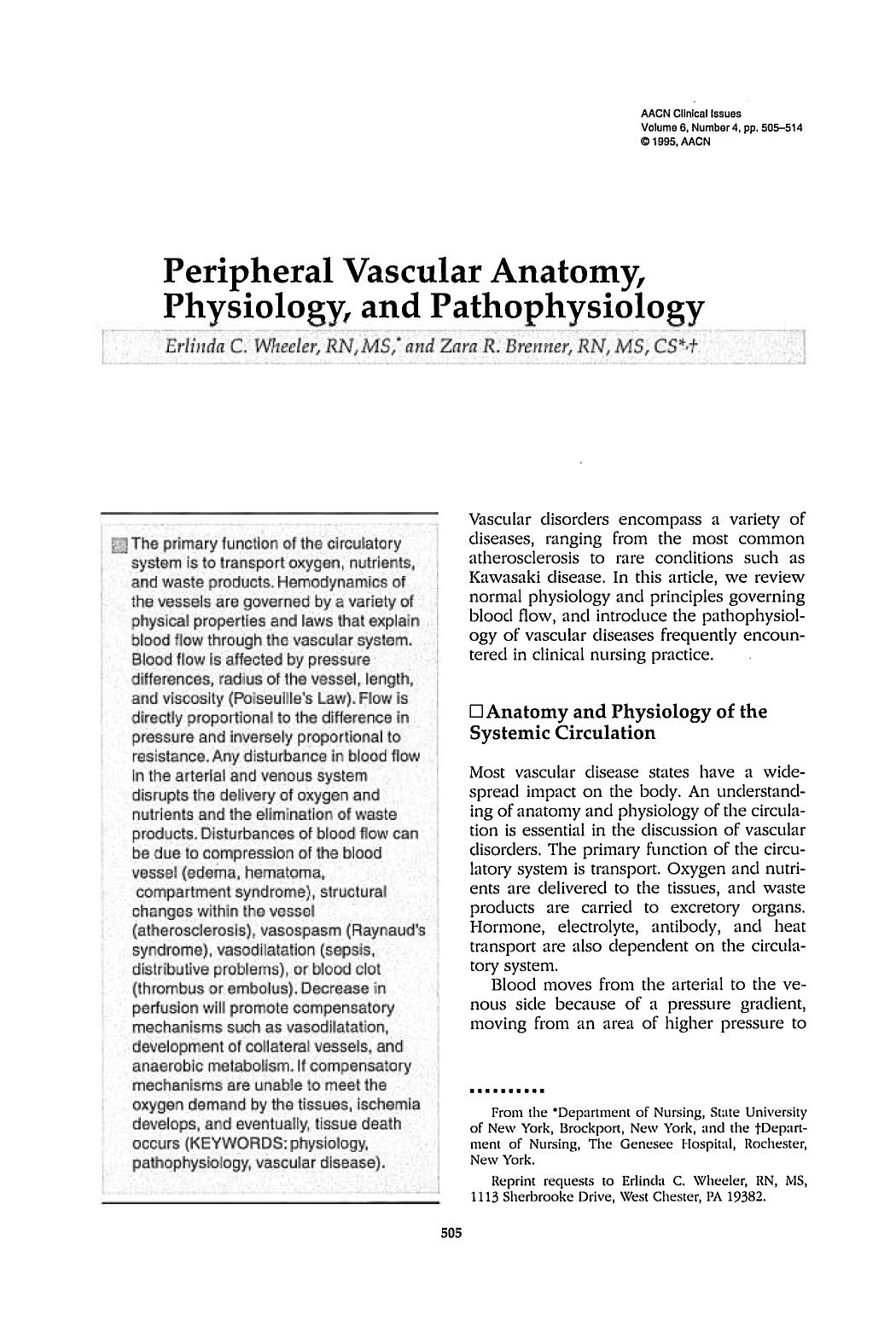 Book cover Peripheral Vascular Anatomy, Physiology, and Pathophysiology