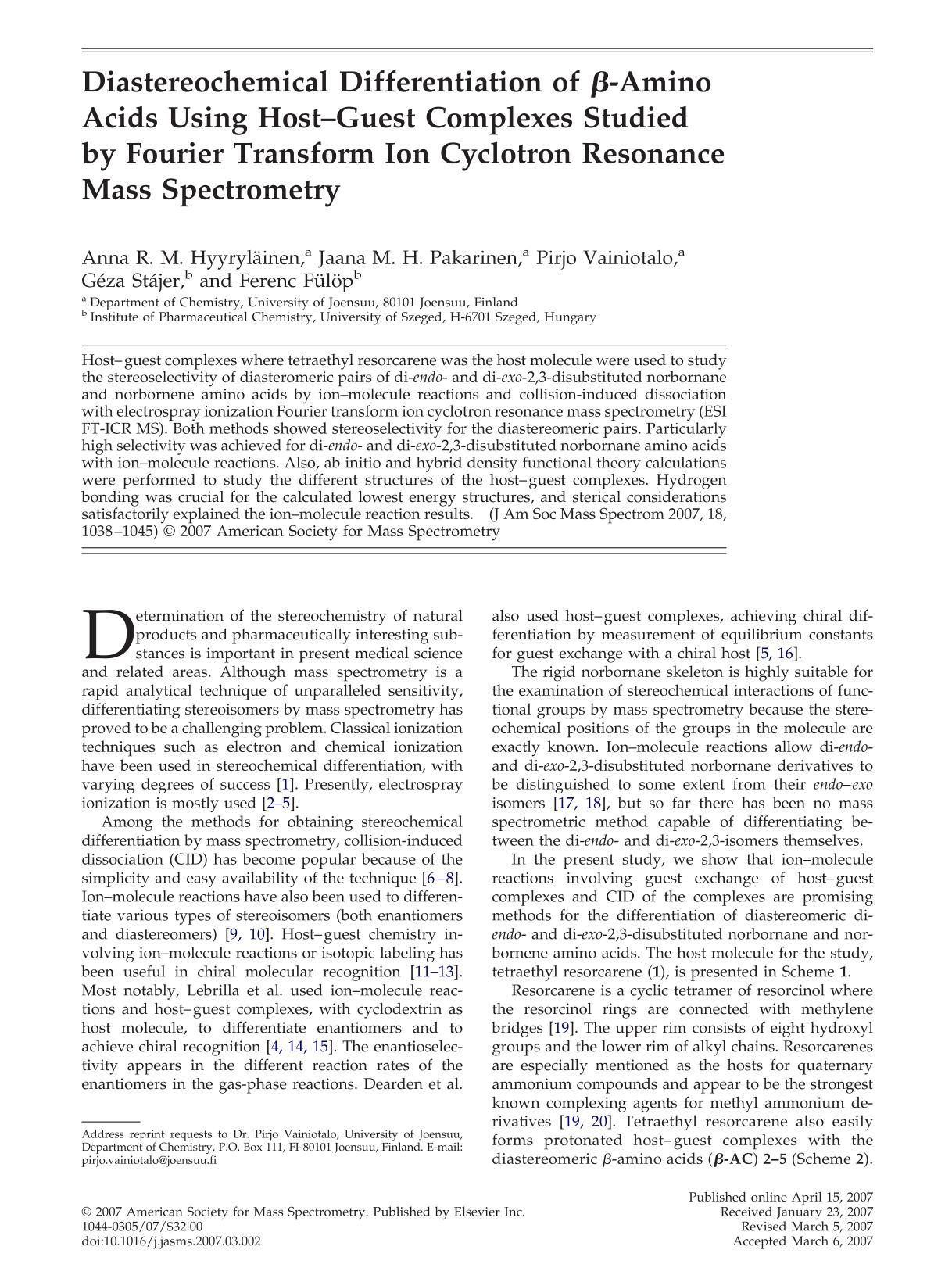 หน้าปก Diastereochemical differentiation of β-amino acids using host-guest complexes studied by fourier transform ion cyclotron resonance mass spectrometry