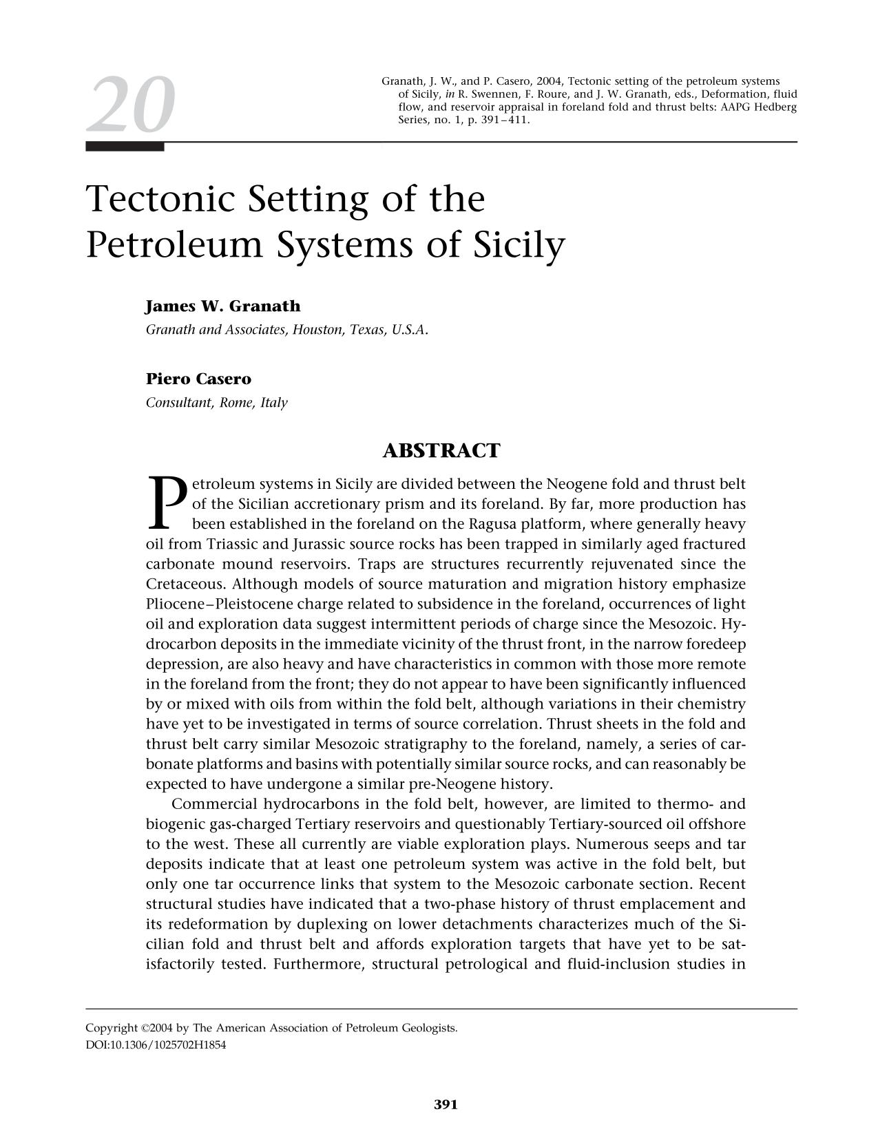 Copertina Tectonic Setting of the Petroleum Systems of Sicily