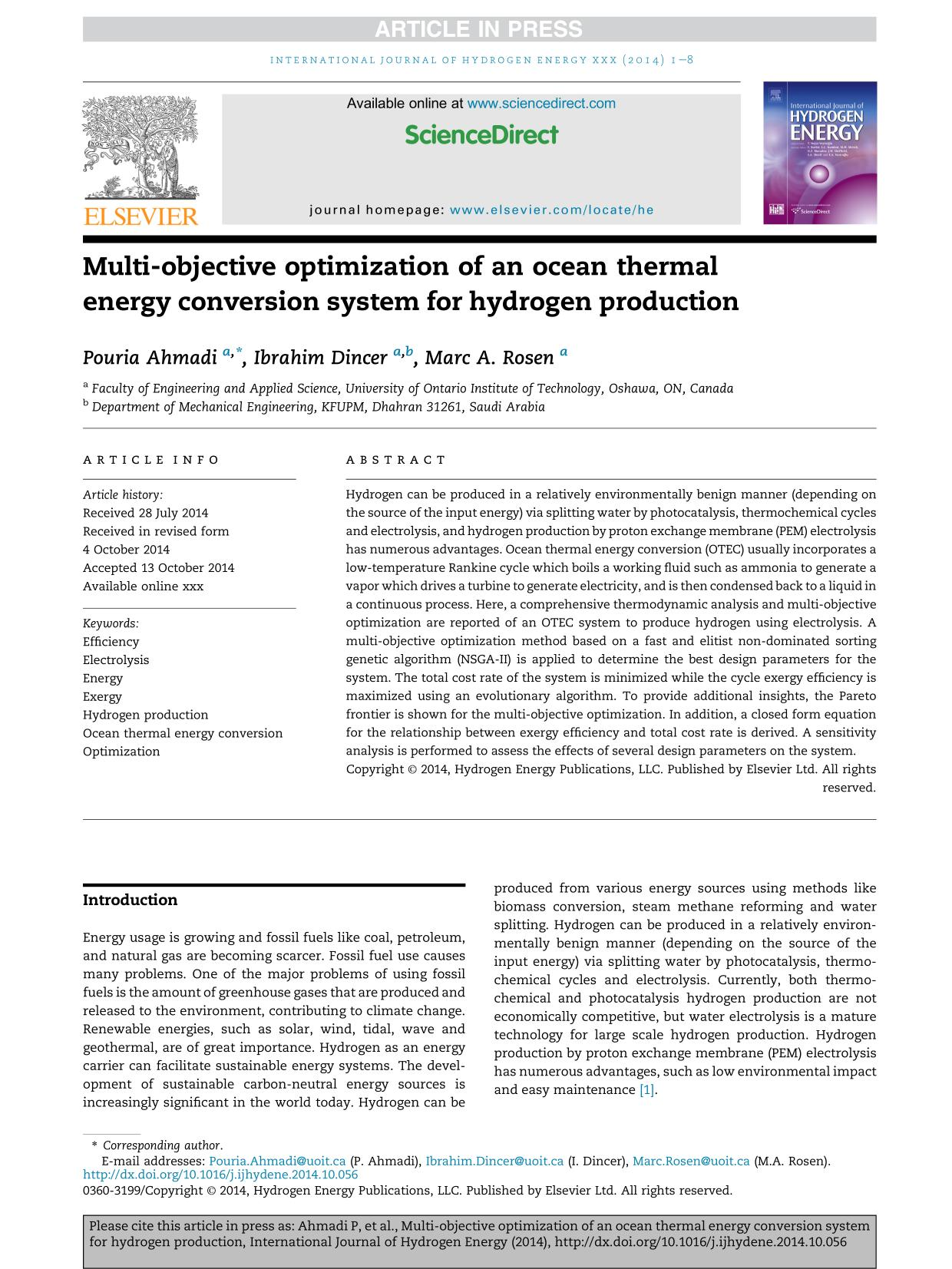 Kover buku Multi-objective optimization of an ocean thermal energy conversion system for hydrogen production