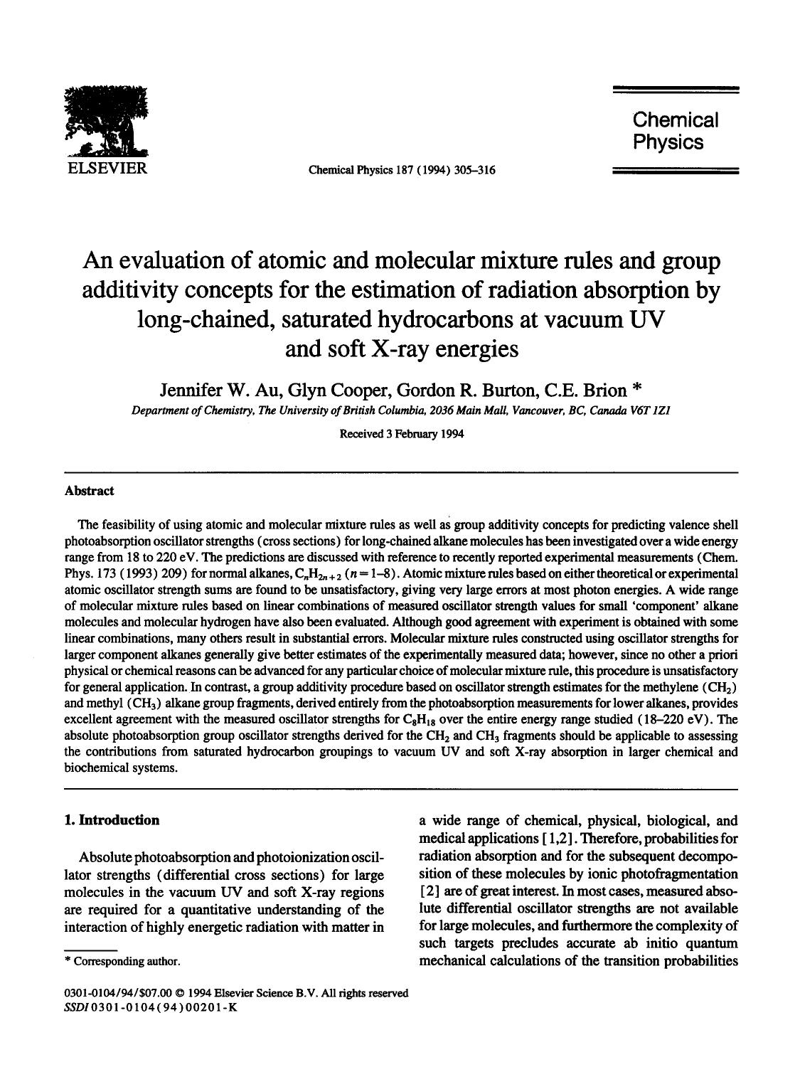 Kover buku An evaluation of atomic and molecular mixture rules and group additivity concepts for the estimation of radiation absorption by long-chained, saturated hydrocarbons at vacuum UV and soft X-ray energies