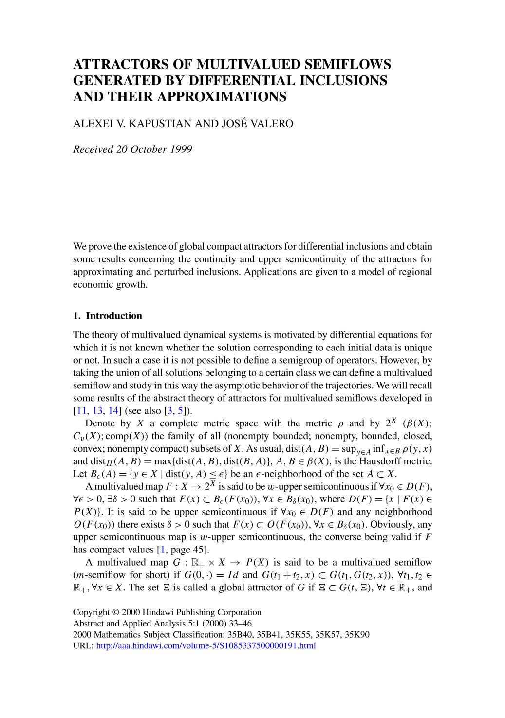 Portada del libro Attractors of multivalued semiflows generated by differential inclusions and their approximations
