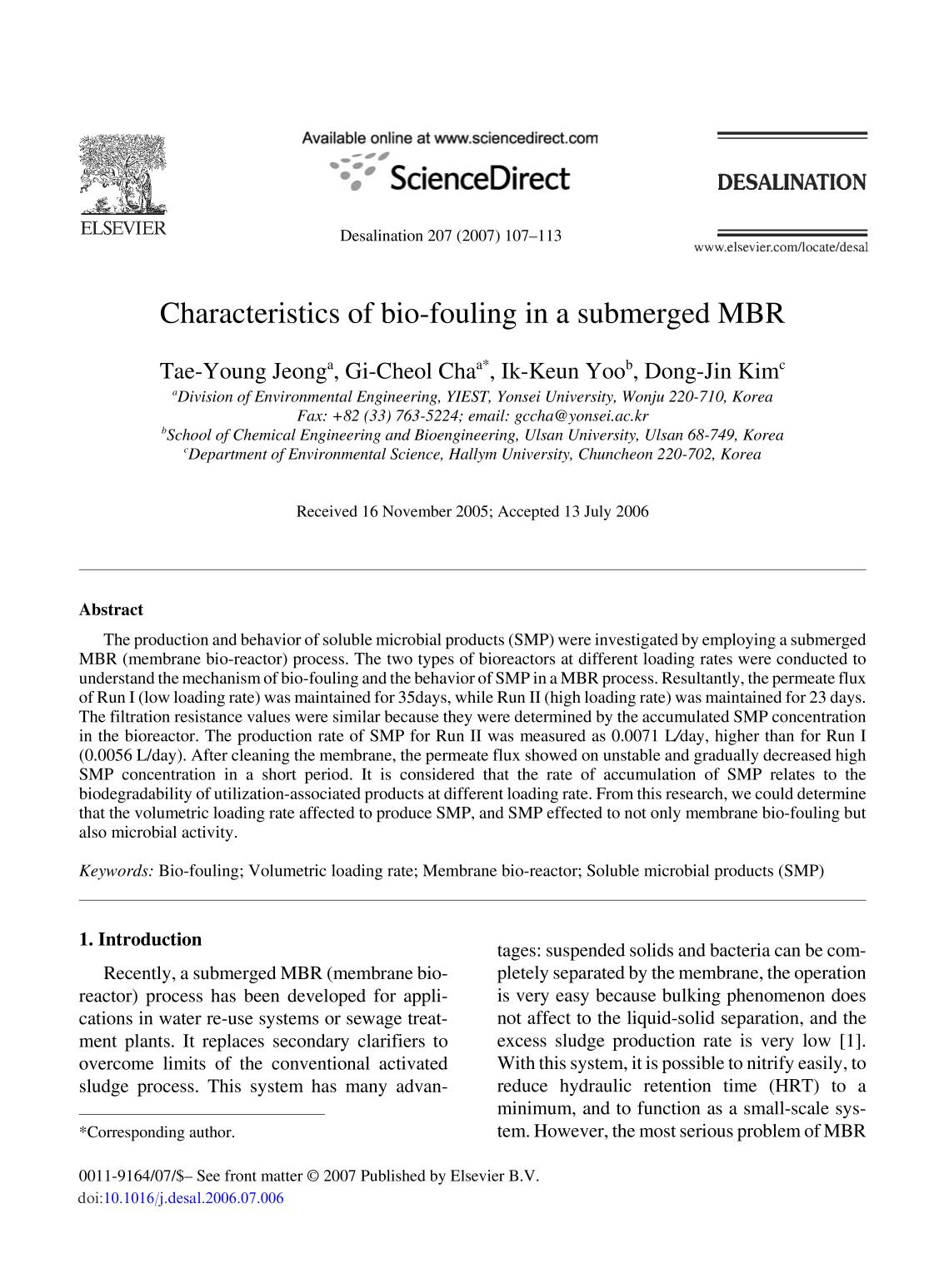 Обложка книги Characteristics of bio-fouling in a submerged MBR