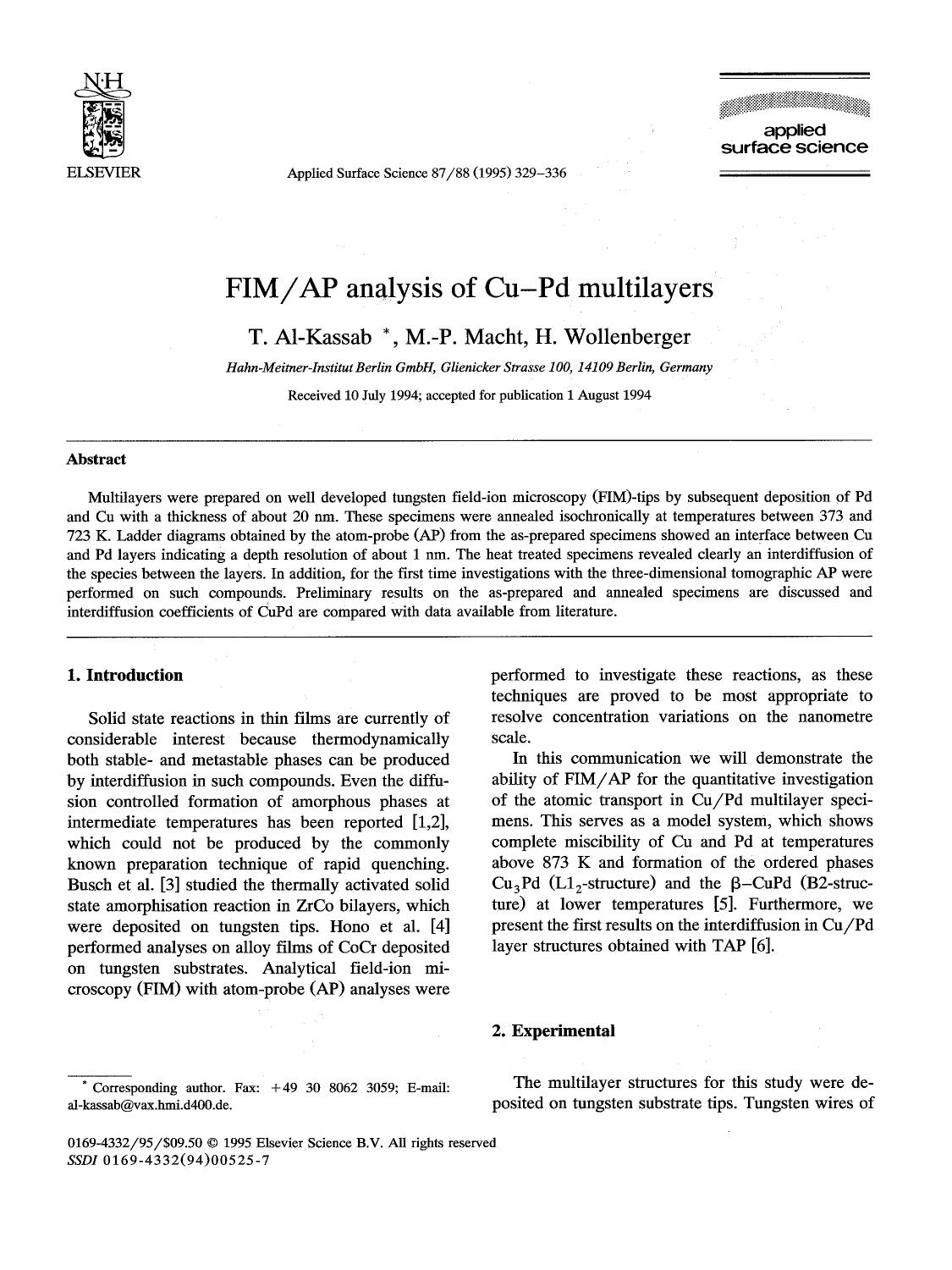 Buchdeckel FIM/AP analysis of CuPd multilayers