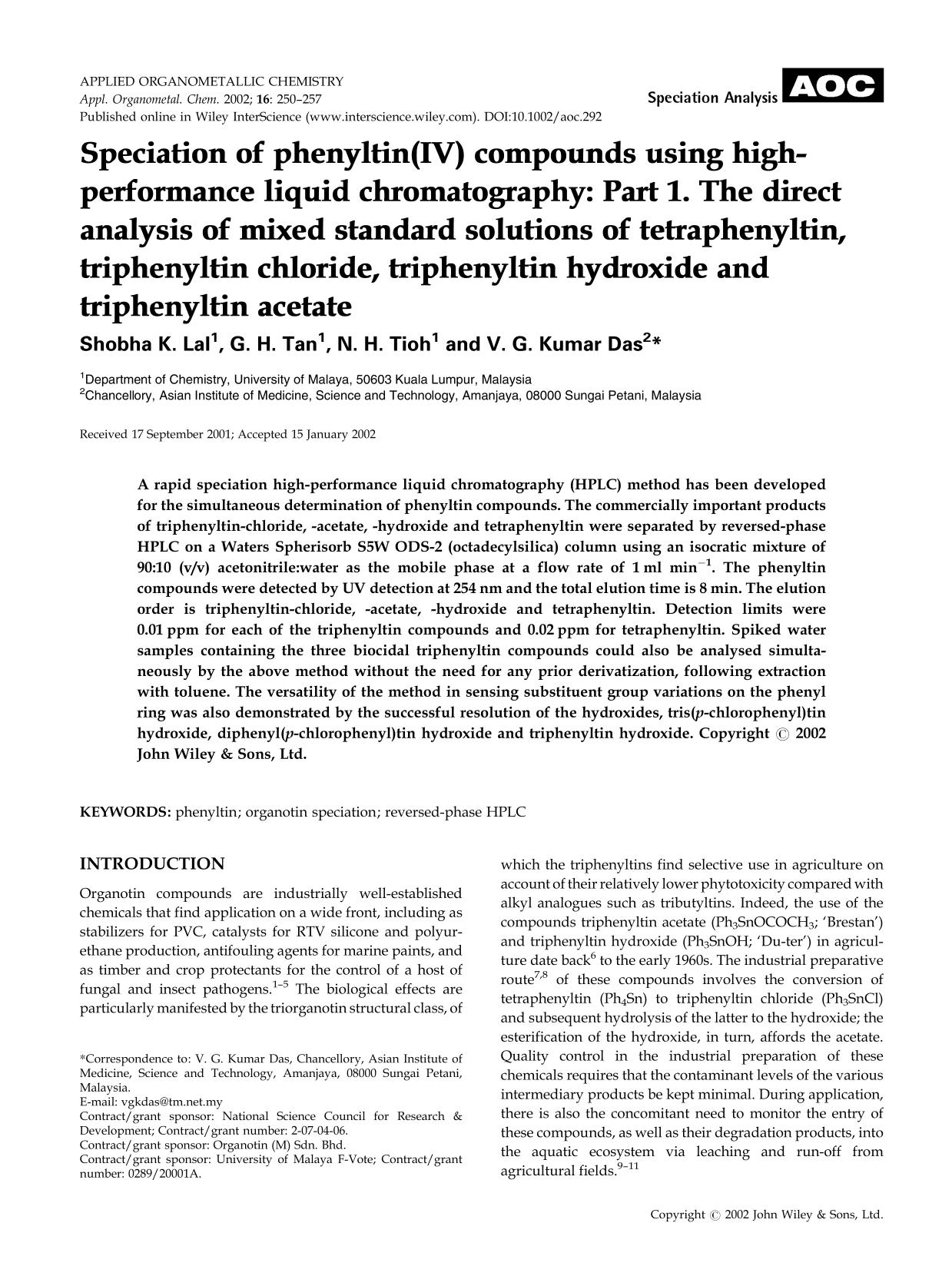 Kover buku Speciation of phenyltin(IV) compounds using high-performance liquid chromatography: Part 1. The direct analysis of mixed standard solutions of tetraphenyltin, triphenyltin chloride, triphenyltin hydroxide and triphenyltin acetate