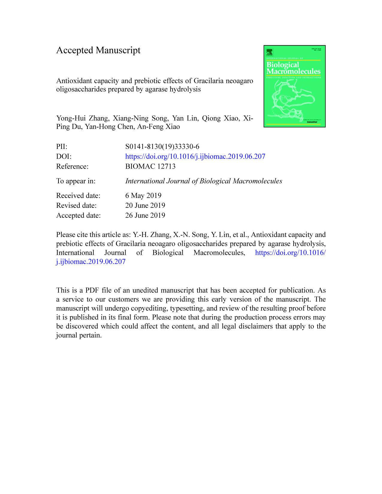 Book cover Antioxidant capacity and prebiotic effects of Gracilaria neoagaro oligosaccharides prepared by agarase hydrolysis
