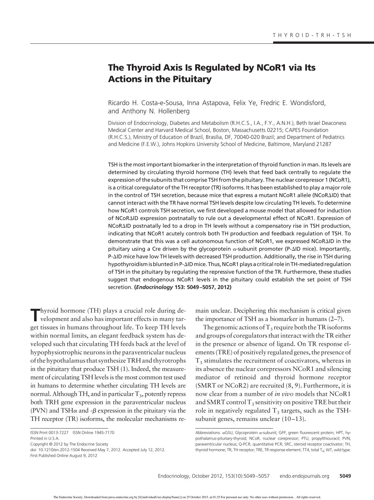 Portada del libro The Thyroid Axis Is Regulated by NCoR1 via Its Actions in the Pituitary