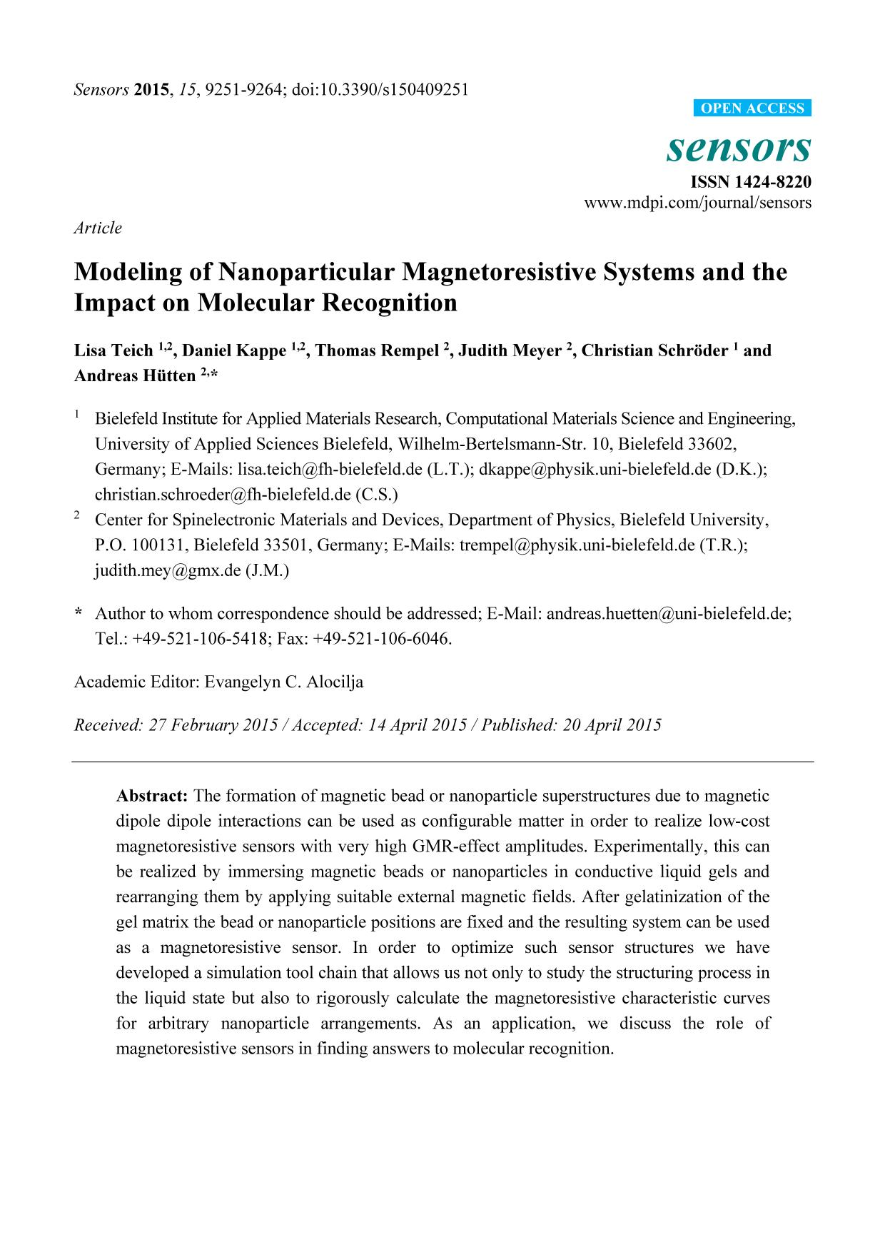 Portada del libro Modeling of Nanoparticular Magnetoresistive Systems and the Impact on Molecular Recognition