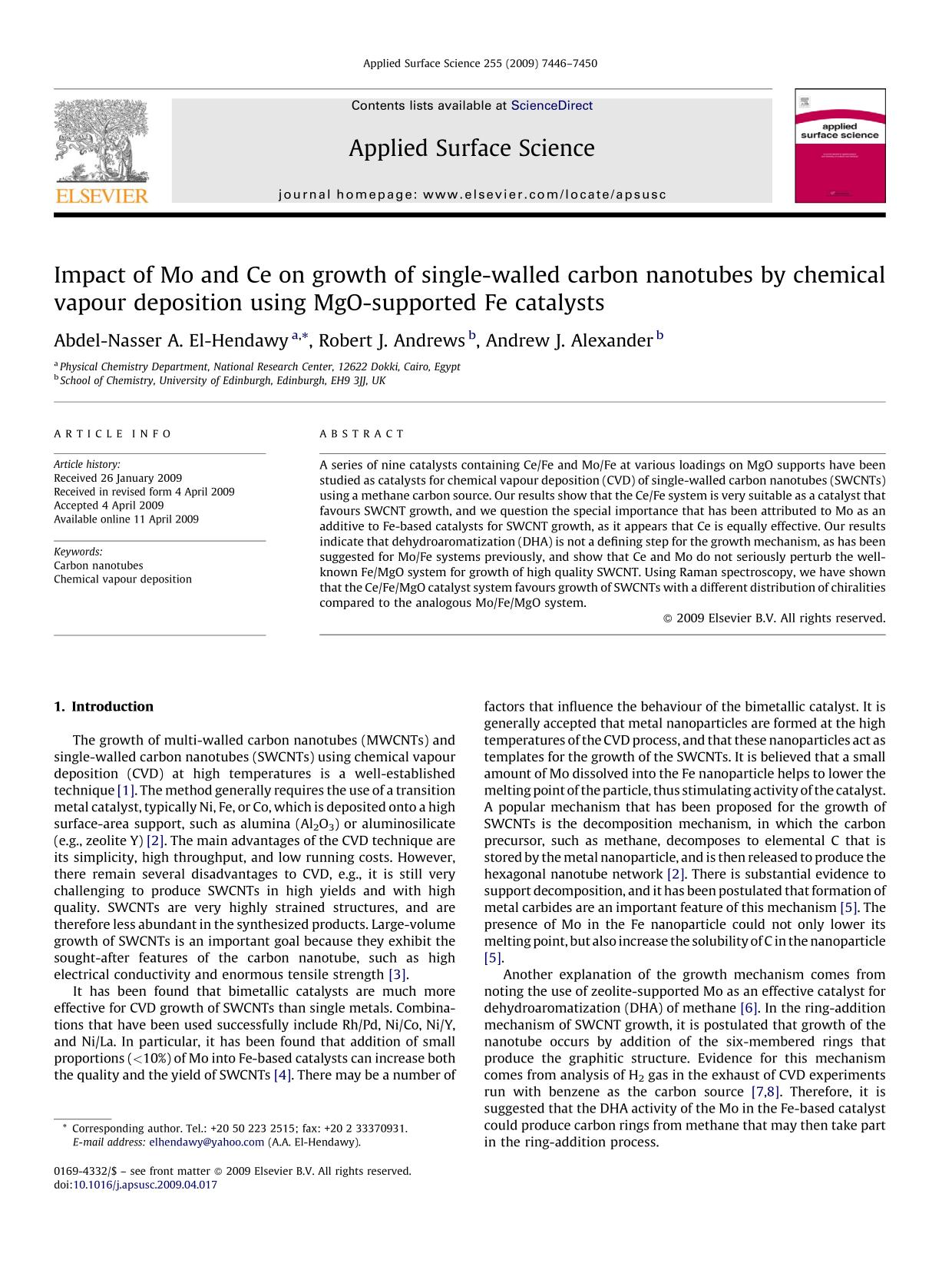 封面 Impact of Mo and Ce on growth of single-walled carbon nanotubes by chemical vapour deposition using MgO-supported Fe catalysts