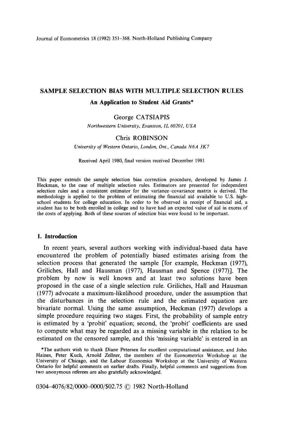 Sampul buku Sample selection bias with multiple selection rules: An application to student aid grants