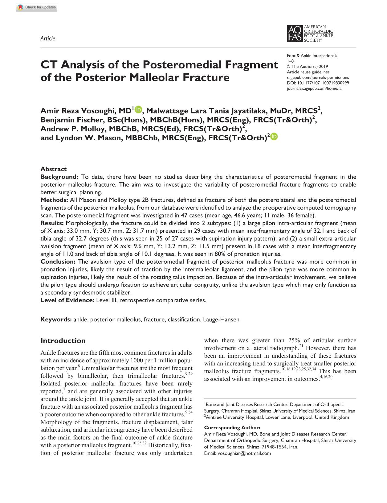 Portada del libro CT Analysis of the Posteromedial Fragment of the Posterior Malleolar Fracture