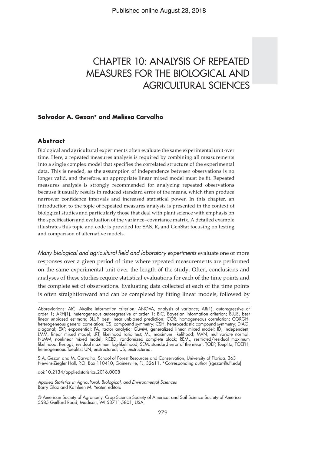 غلاف الكتاب [ACSESS Publications] Applied Statistics in Agricultural, Biological, and Environmental Sciences || Chapter 10: Analysis of Repeated Measures for the Biological and Agricultural Sciences