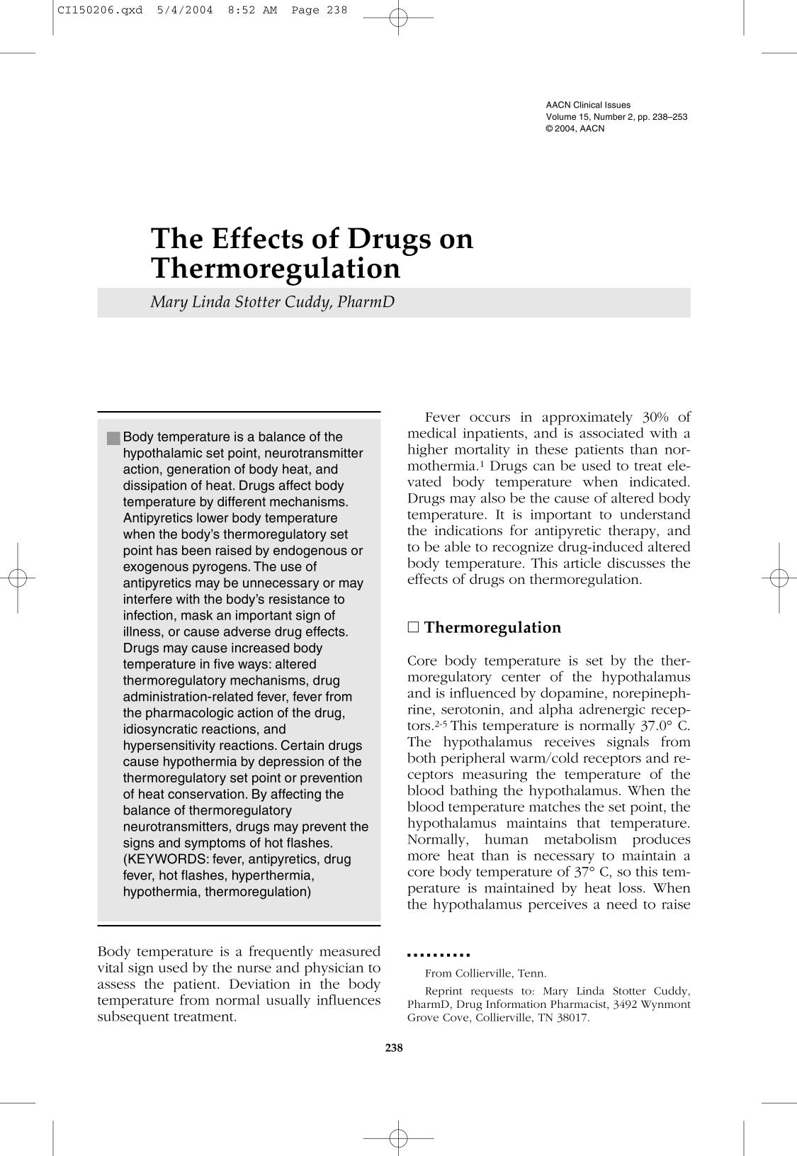 Book cover The Effects of Drugs on Thermoregulation