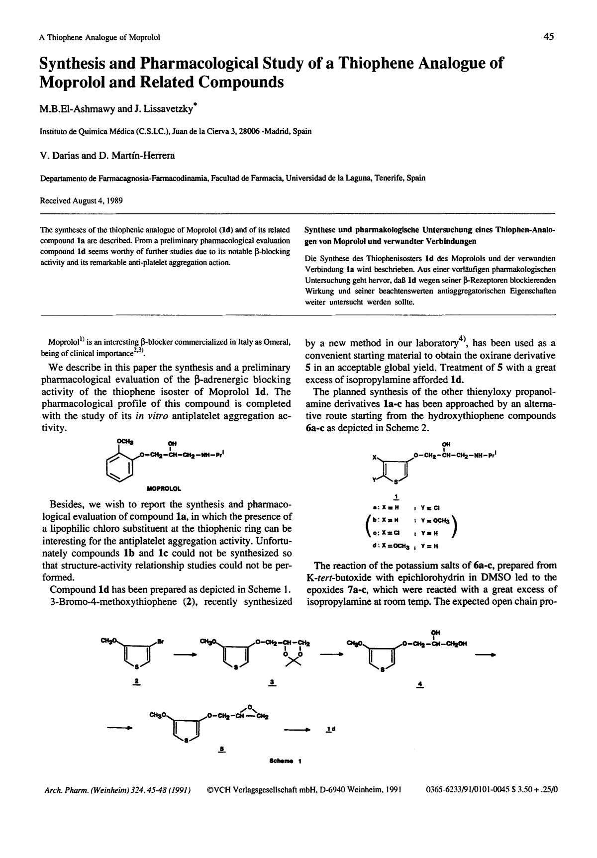 capa de livro Synthesis and Pharmacological Study of a Thiophene Analogue of Moprolol and Related Compounds