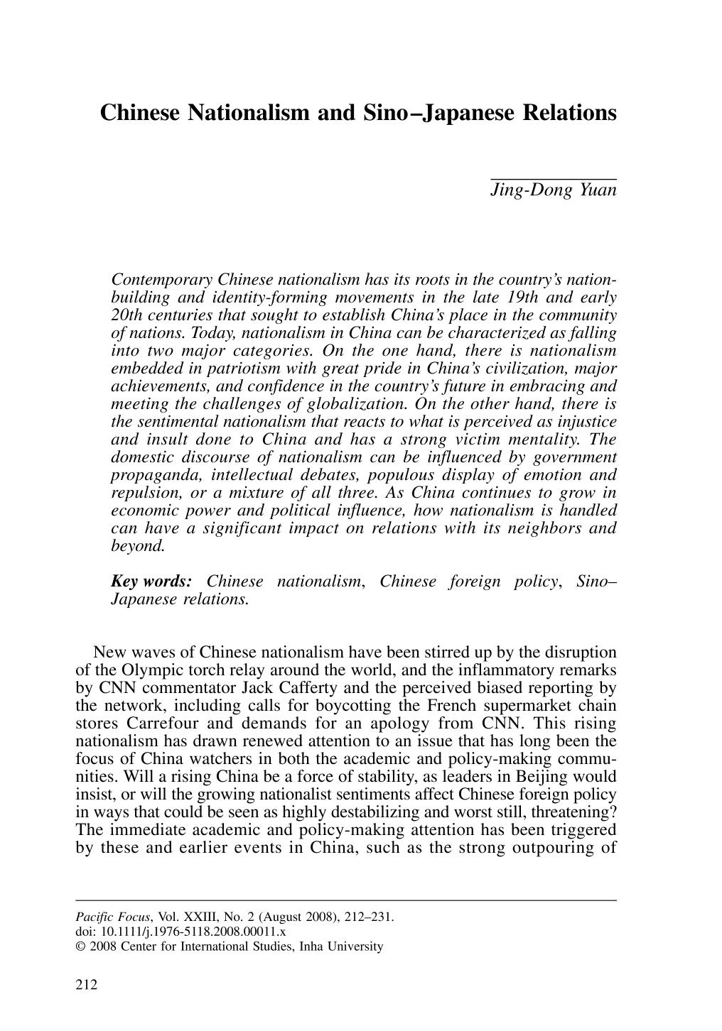 Portada del libro Chinese Nationalism and Sino–Japanese Relations