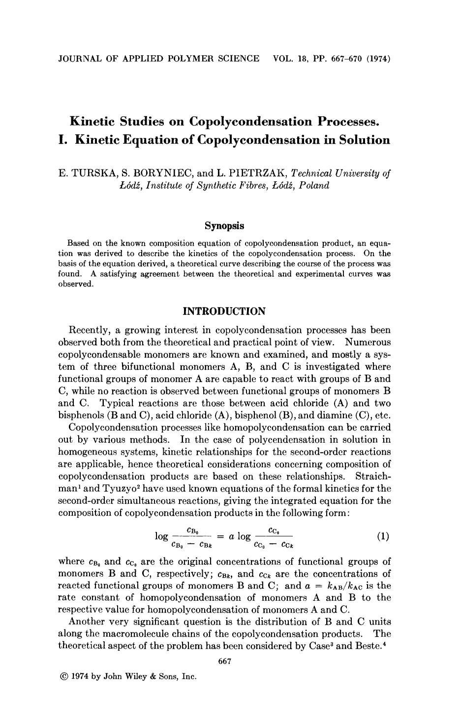 Couverture Kinetic studies on copolycondensation processes. I. Kinetic equation of copolycondensation in solution