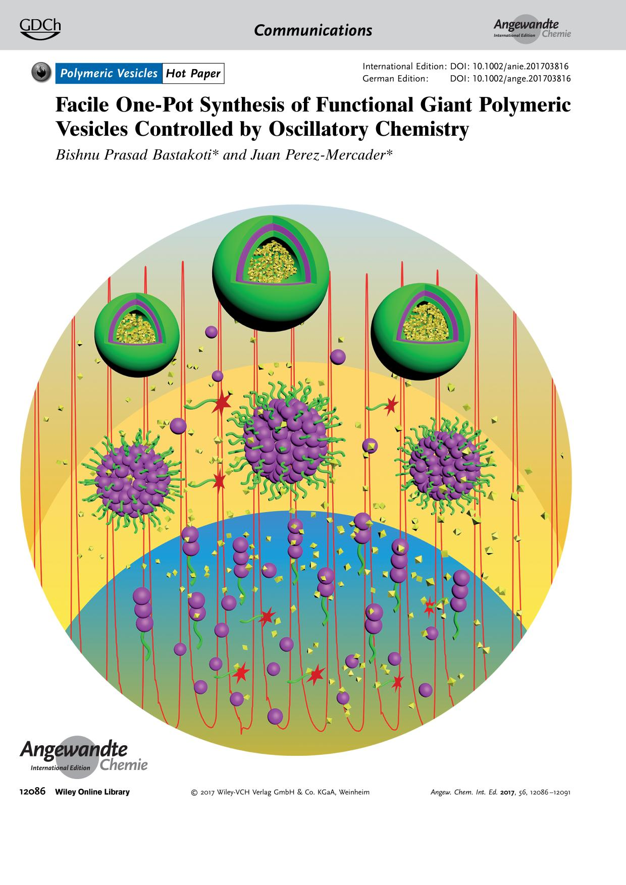Buchcover Frontispiece: Facile One-Pot Synthesis of Functional Giant Polymeric Vesicles Controlled by Oscillatory Chemistry