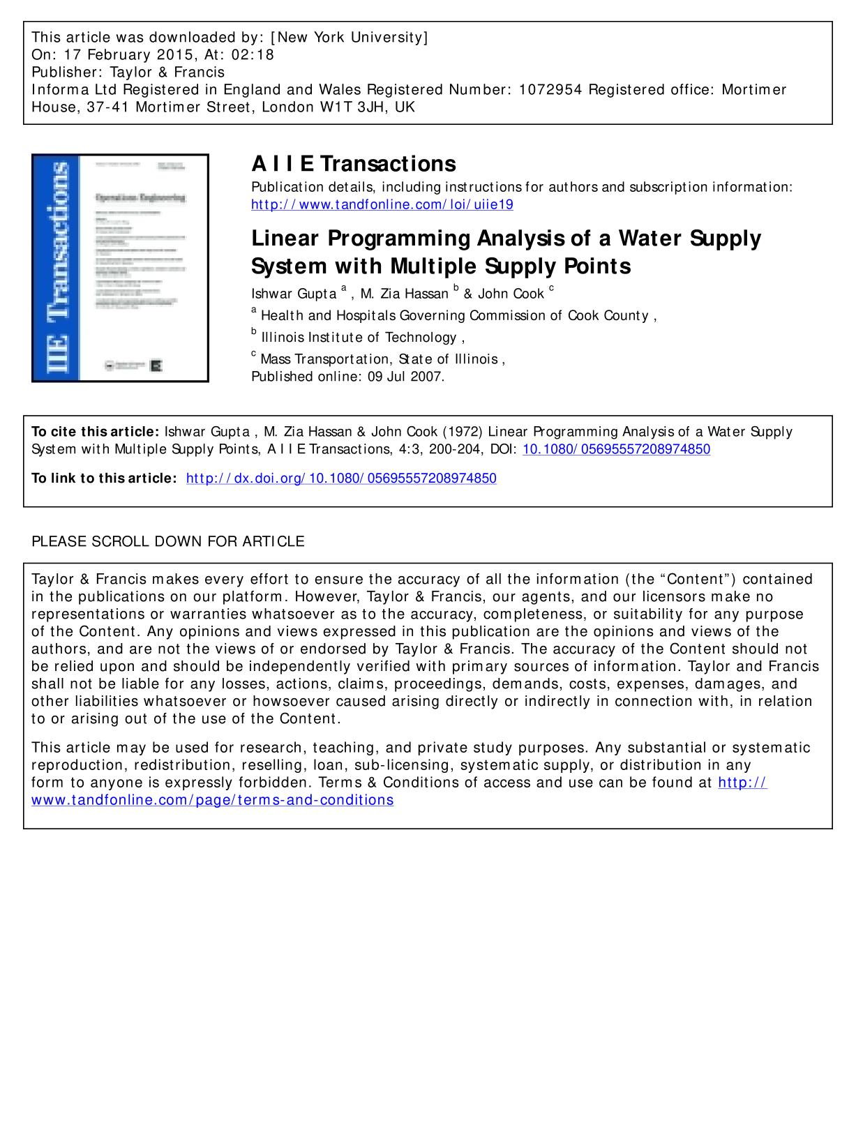 Kover buku Linear Programming Analysis of a Water Supply System with Multiple Supply Points