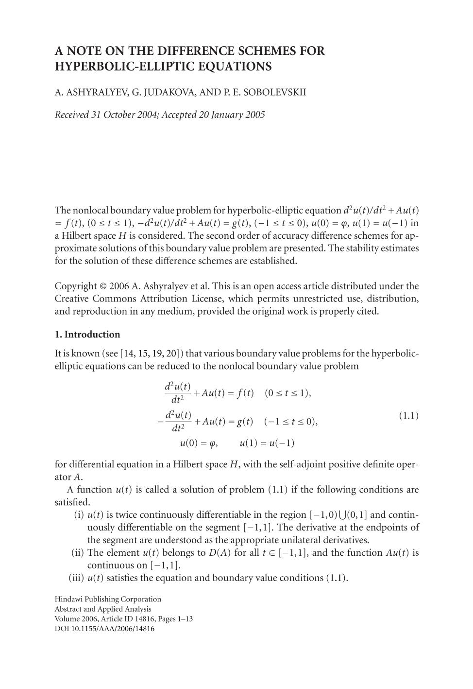 पुस्तक आवरण A note on the difference schemes for hyperbolic-elliptic equations