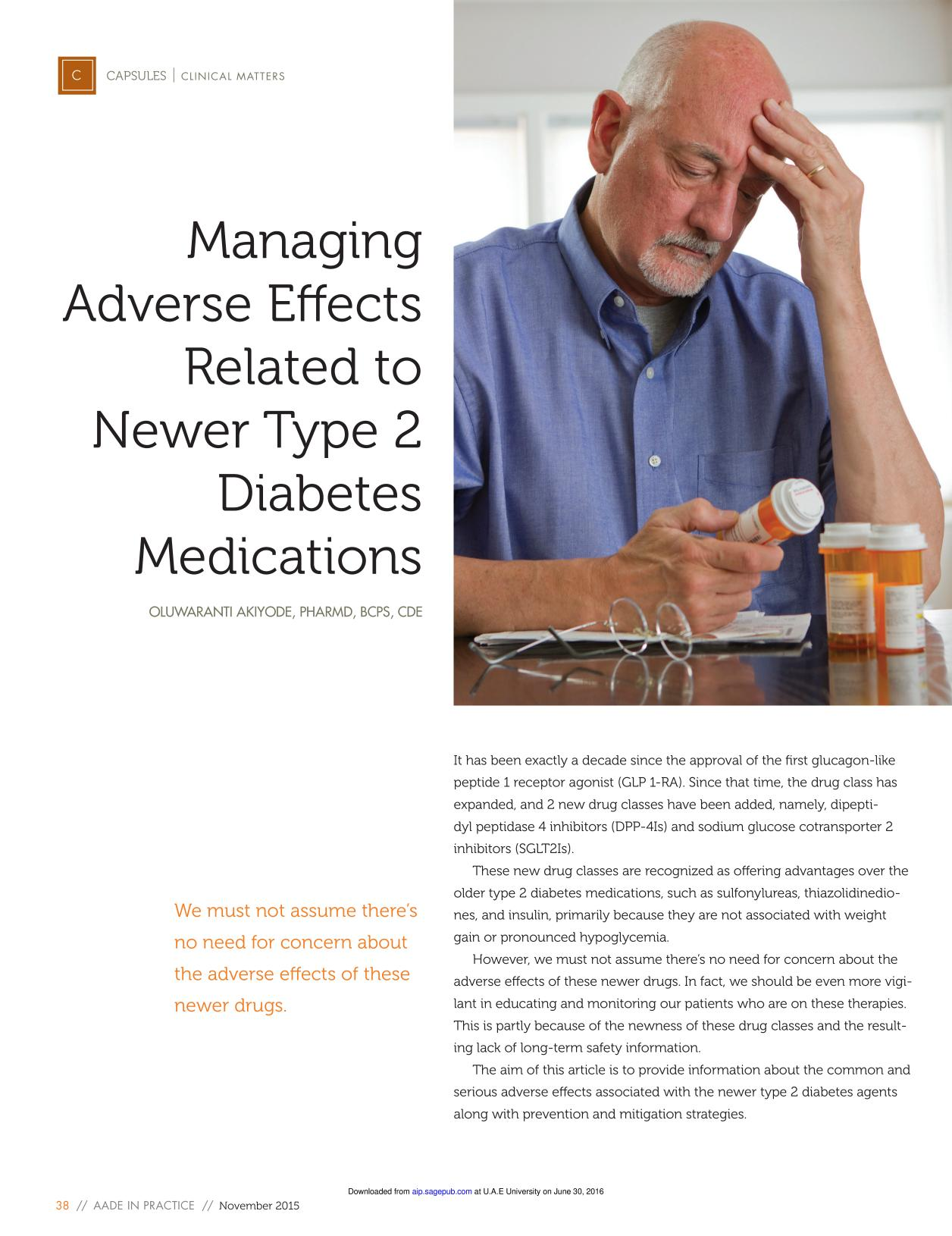 Book cover Managing Adverse Effects Related to Newer Type 2 Diabetes Medications