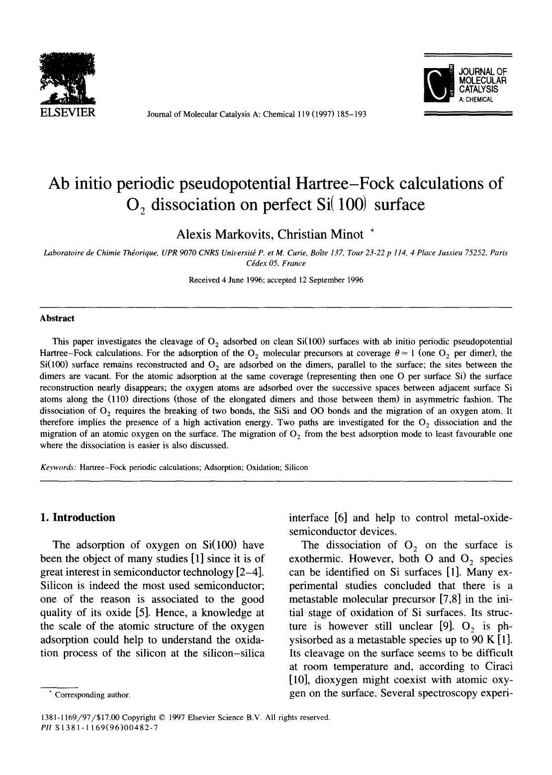 Portada del libro Ab initio periodic pseudopotential Hartree-Fock calculations of O2 dissociation on perfect Si(100) surface