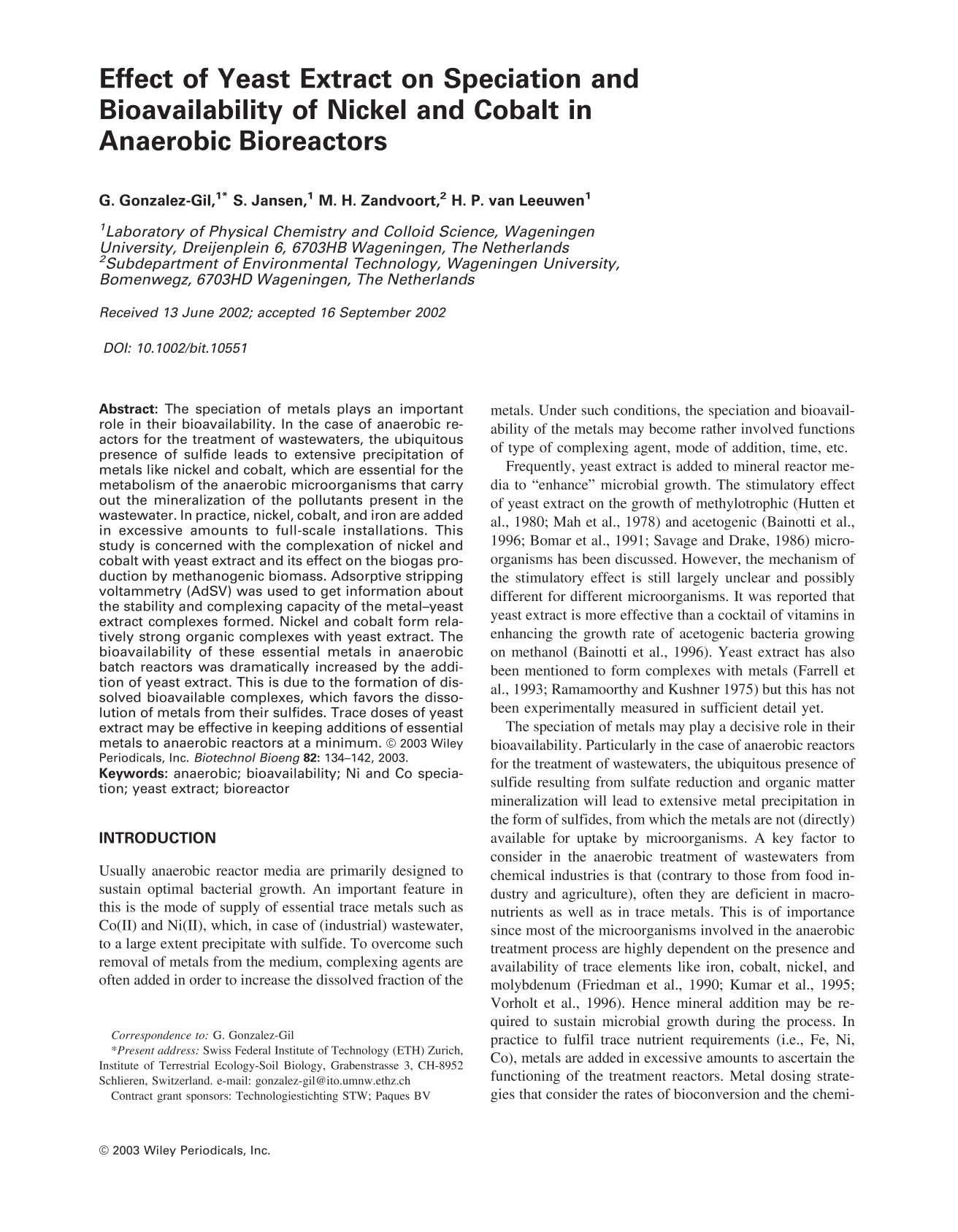 Portada del libro Effect of yeast extract on speciation and bioavailability of nickel and cobalt in anaerobic bioreactors