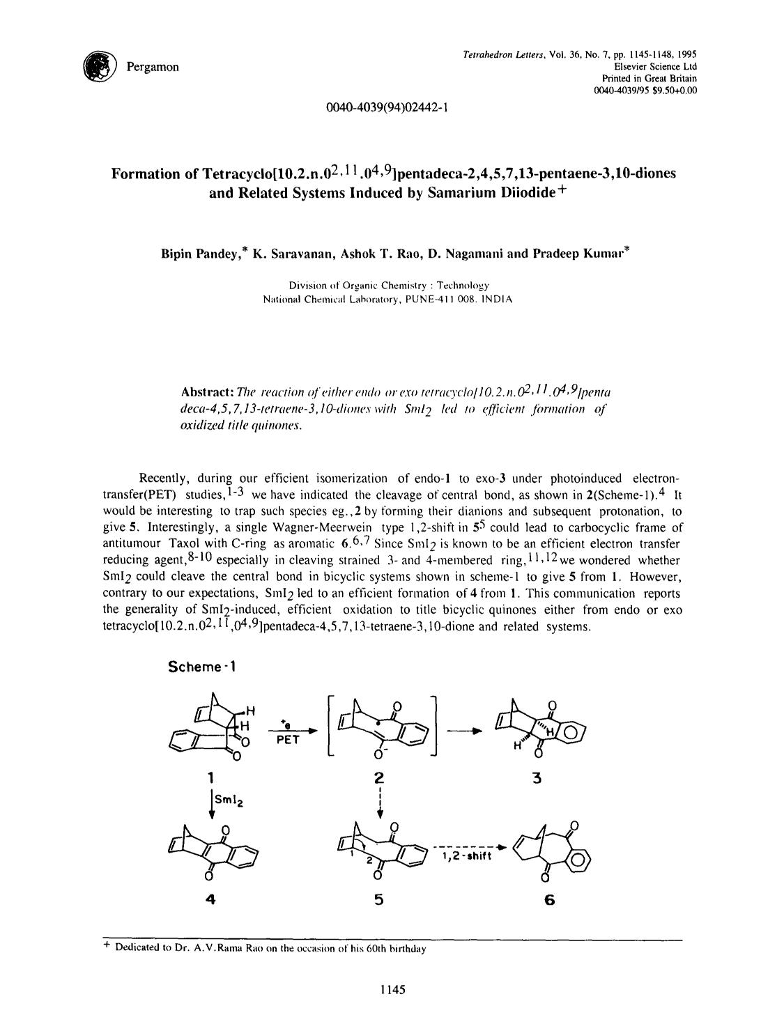 Portada del libro Formation of tetracyclo[10.2.n.02,11.04,9]pentadeca-2,4,5,7,13-pentaene-3,10-diones and related systems induced by samarium diiodide