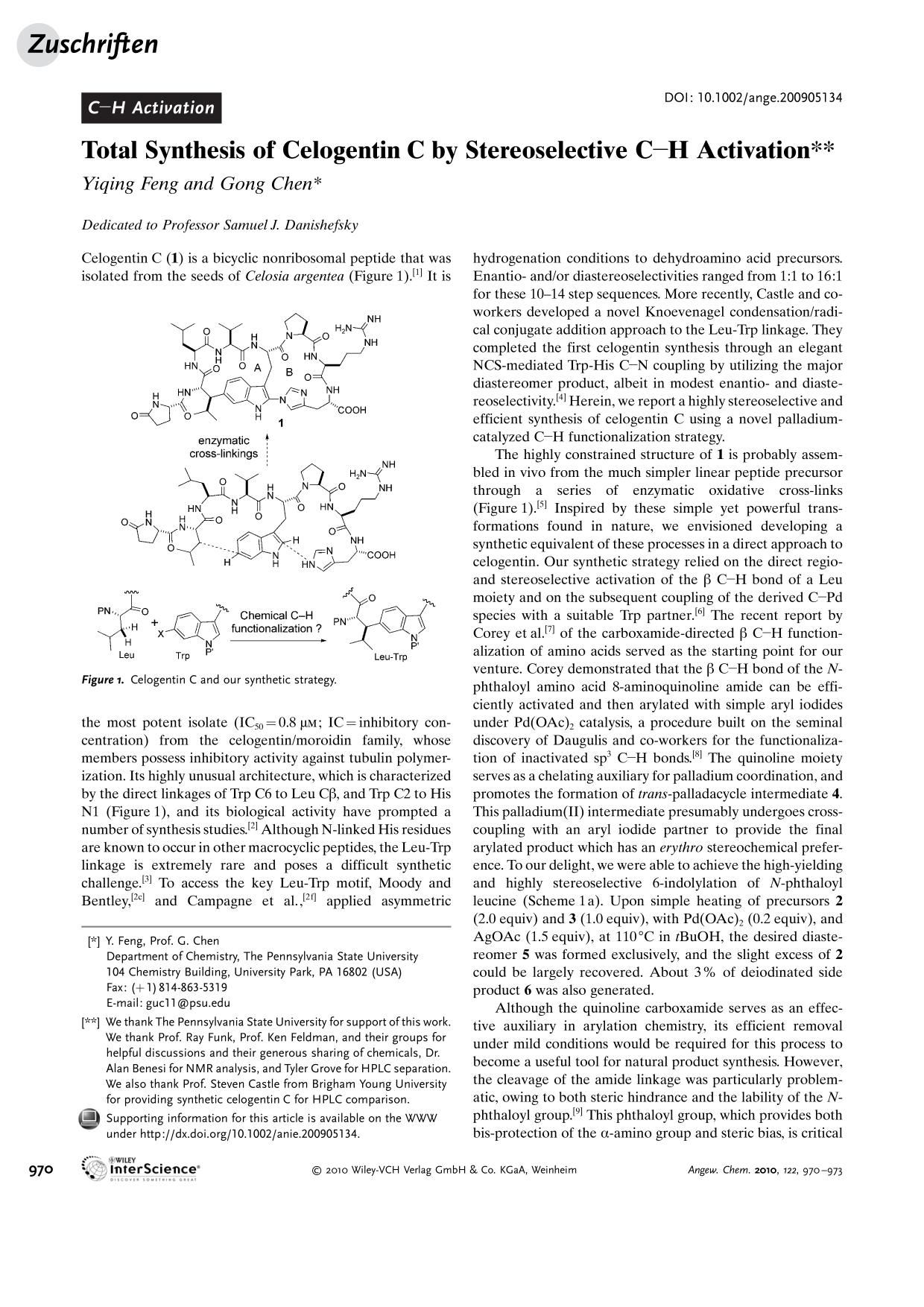 "पुस्तक आवरण Total Synthesis of Celogentin C by Stereoselective C<img src=""http://onlinelibrarystatic.wiley.com/undisplayable_characters/00f8ff.gif"" alt=""[BOND]"">H Activation"