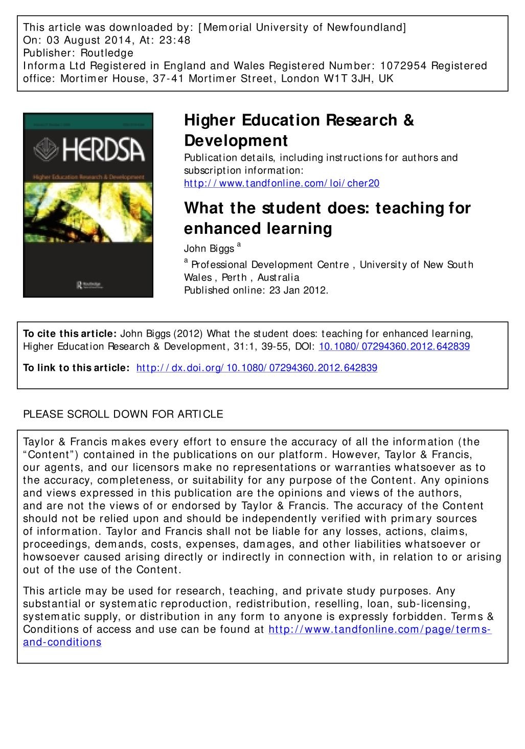 Book cover What the student does: teaching for enhanced learning