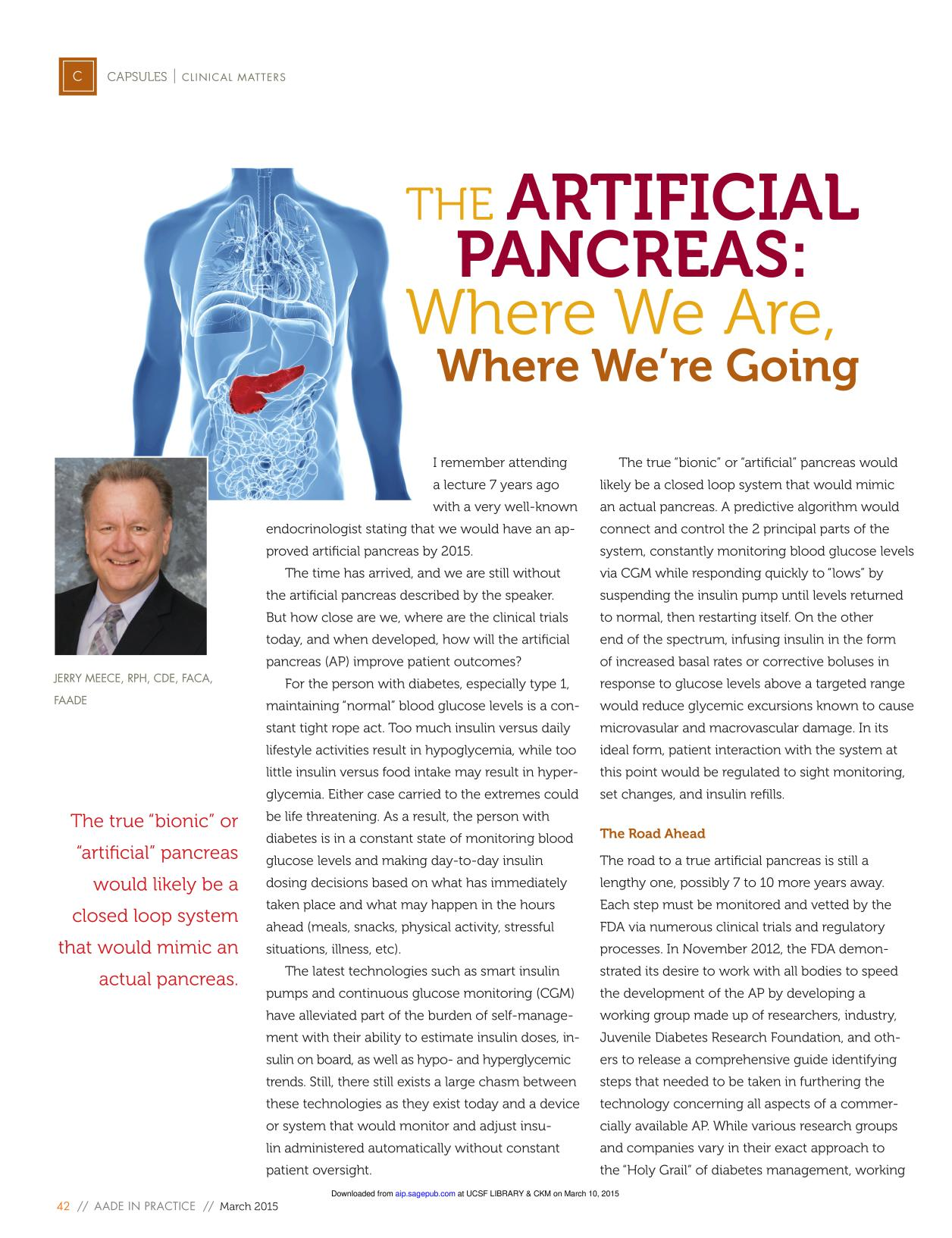 Couverture du livre The Artificial Pancreas: Where We Are, Where We're Going