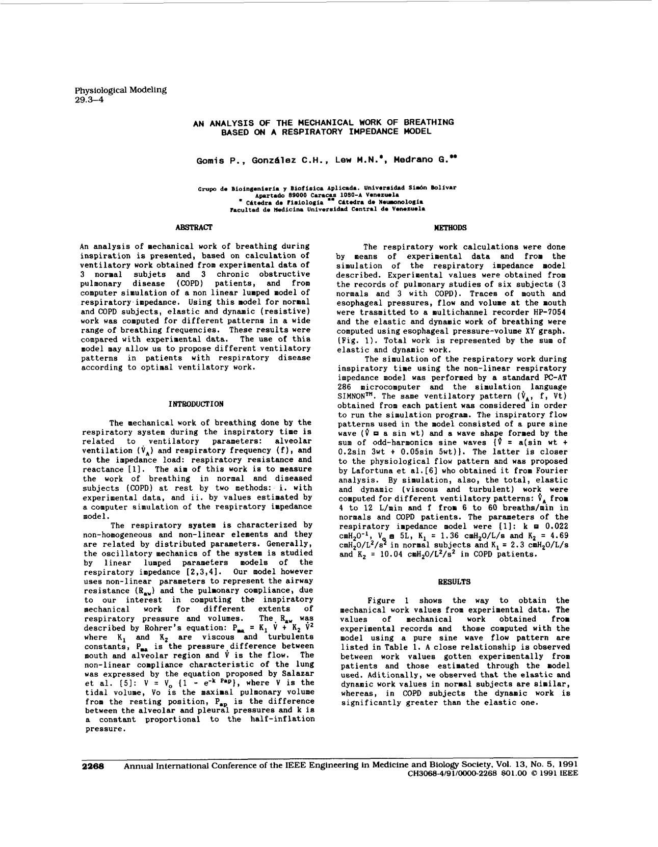 Couverture  [IEEE Annual International Conference of the IEEE Engineering in Medicine and Biology Society Volume 13: 1991 - Orlando, FL, USA (31 Oct.-3 Nov. 1991)] Proceedings of the Annual International Conference of the IEEE Engineering in Medicine and Biology Society Volume 13: 1991 - An Analysis Of The Mechanical Work Of Breathing Based On A Respiratory Impedance Model