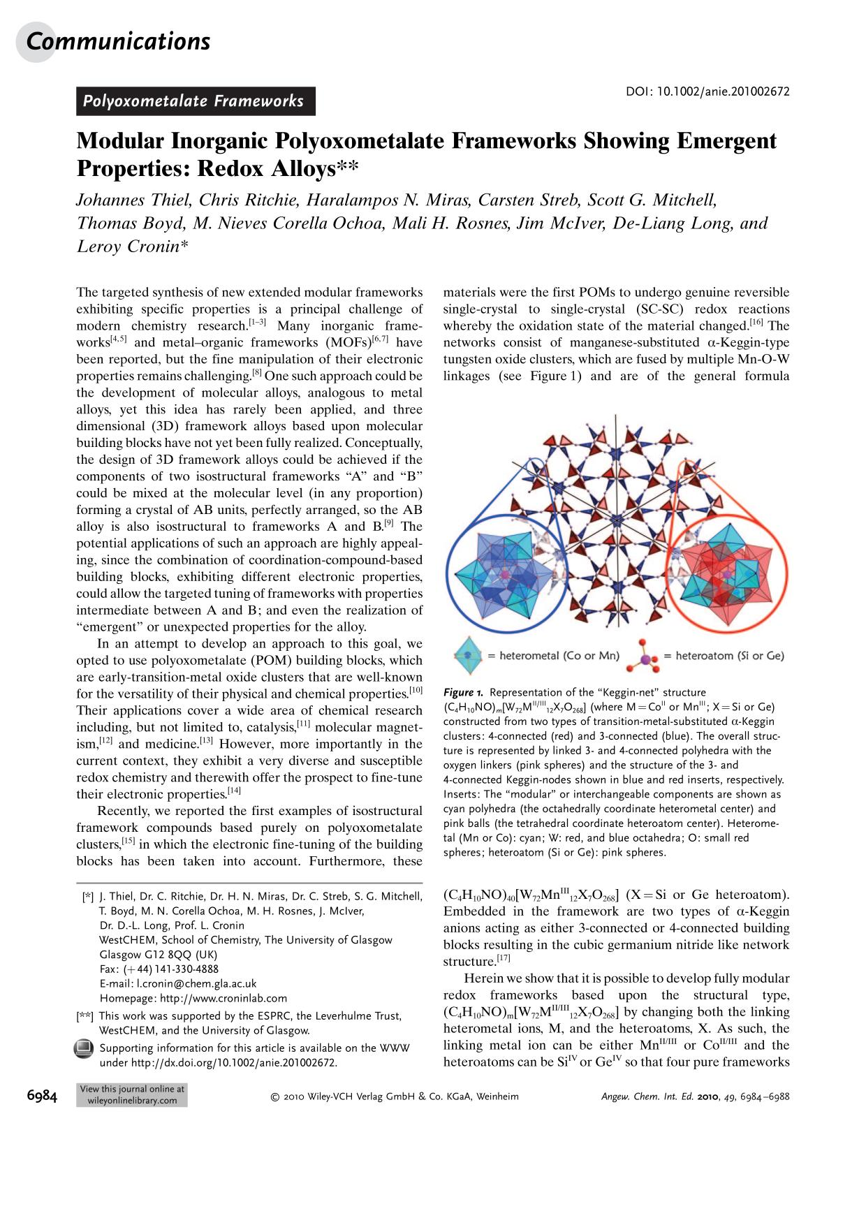 غلاف الكتاب Modular Inorganic Polyoxometalate Frameworks Showing Emergent Properties: Redox Alloys