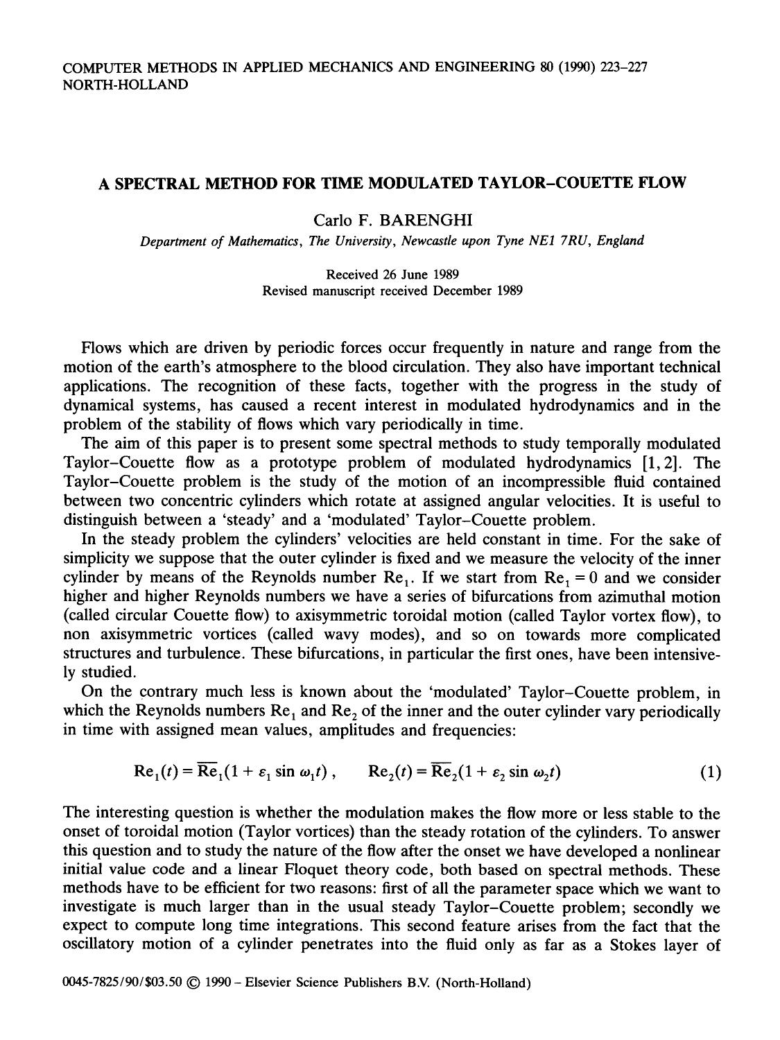 Copertina A spectral method for time modulated Taylor-Couette flow