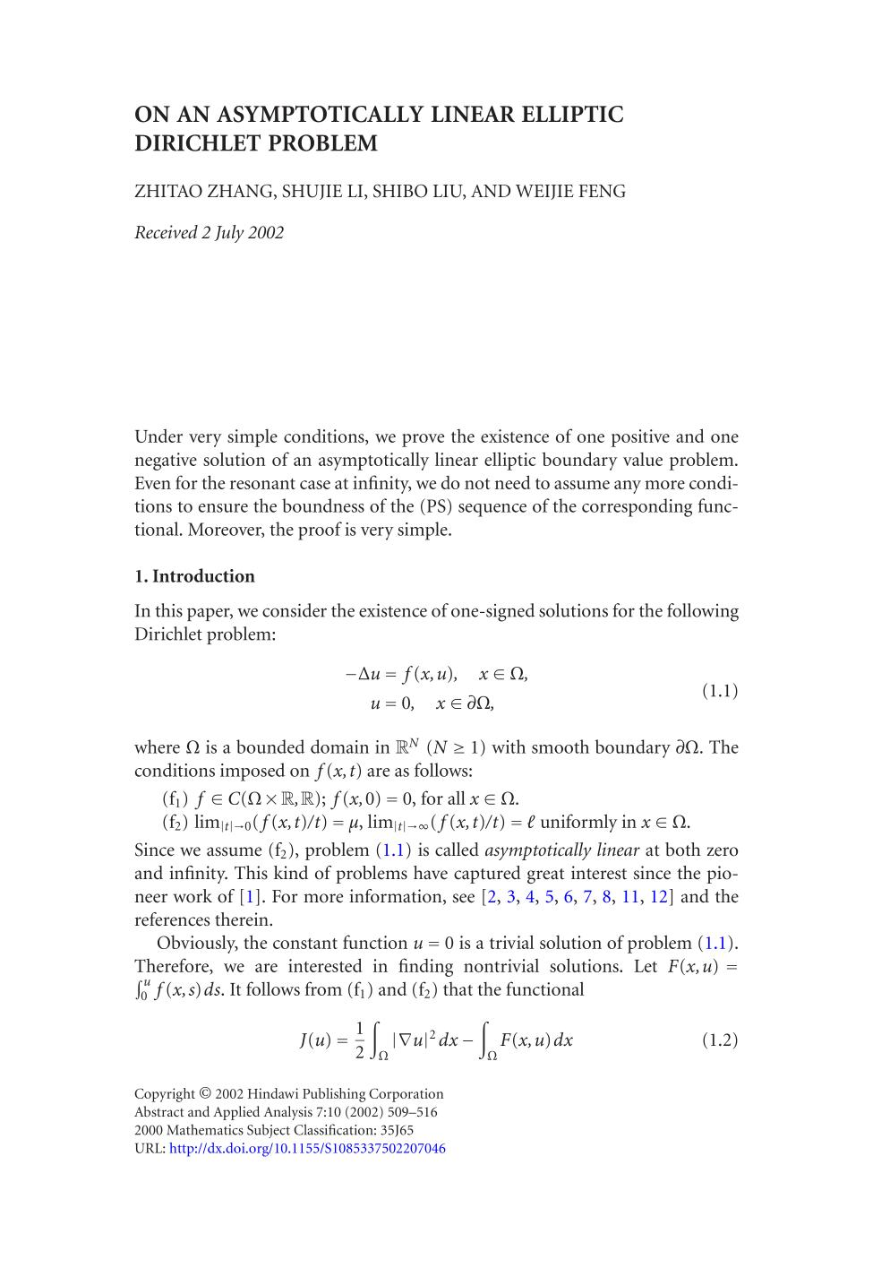 capa de livro On an asymptotically linear elliptic Dirichlet problem