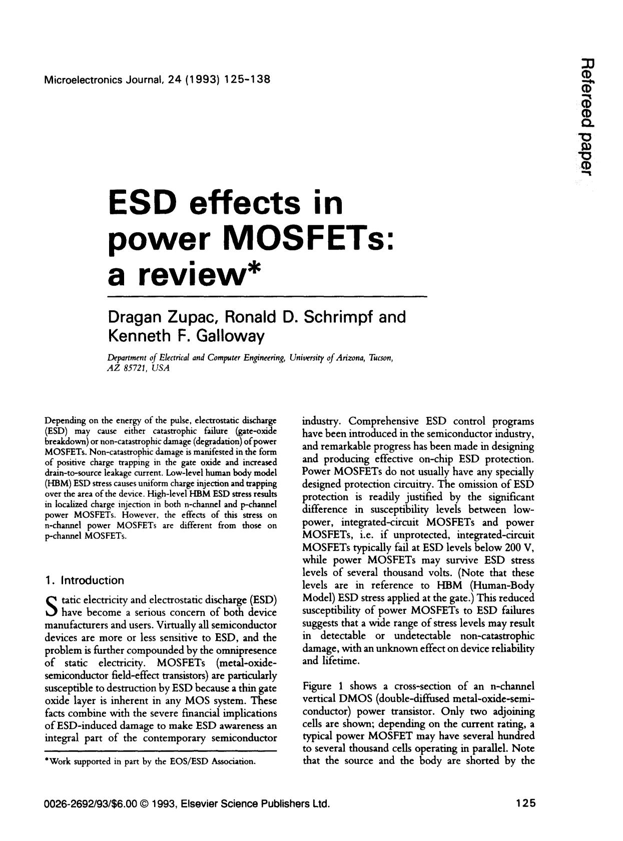 ปกหนังสือ ESD effects in power MOSFETs: a review