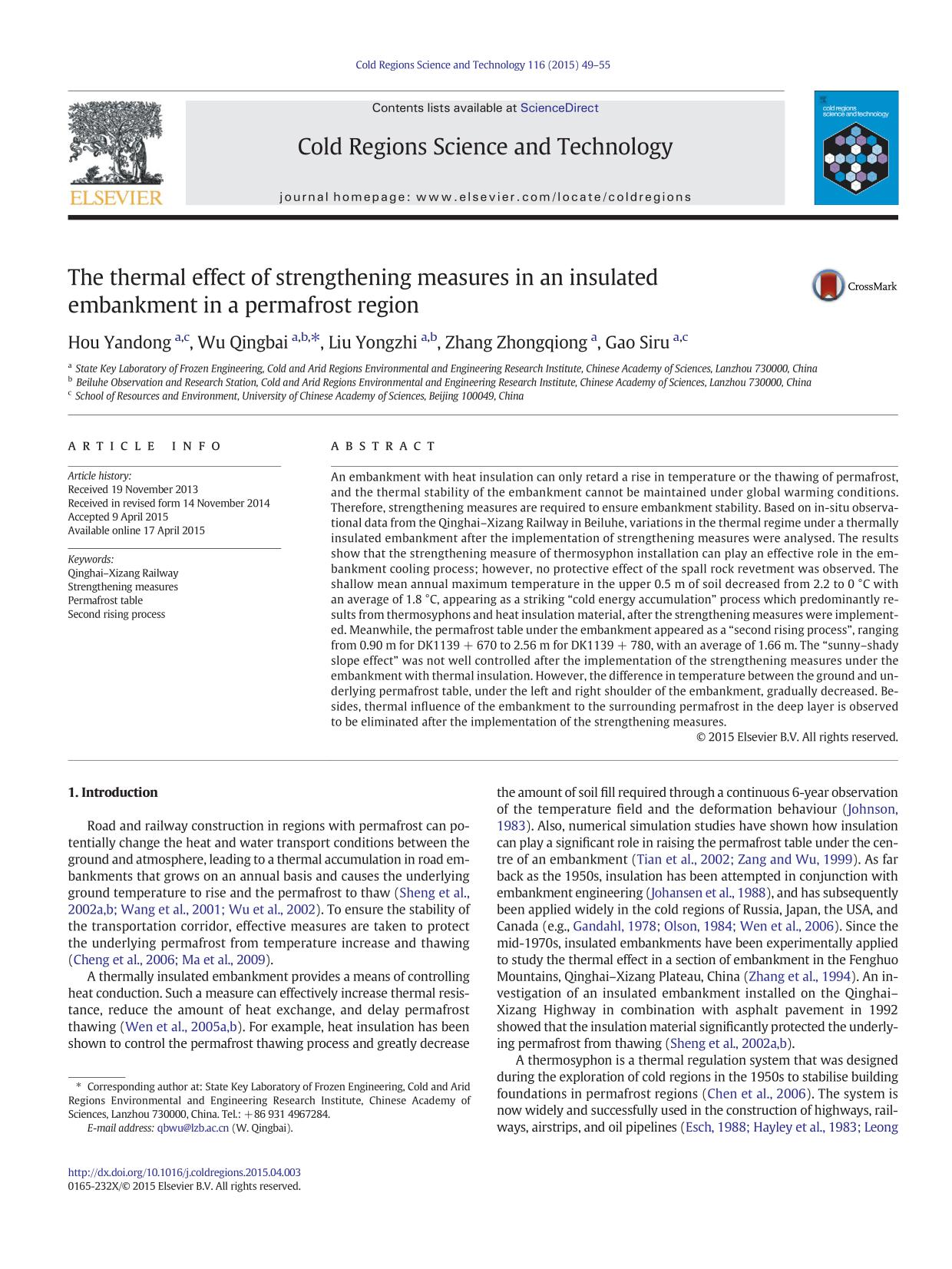 Portada del libro The thermal effect of strengthening measures in an insulated embankment in a permafrost region