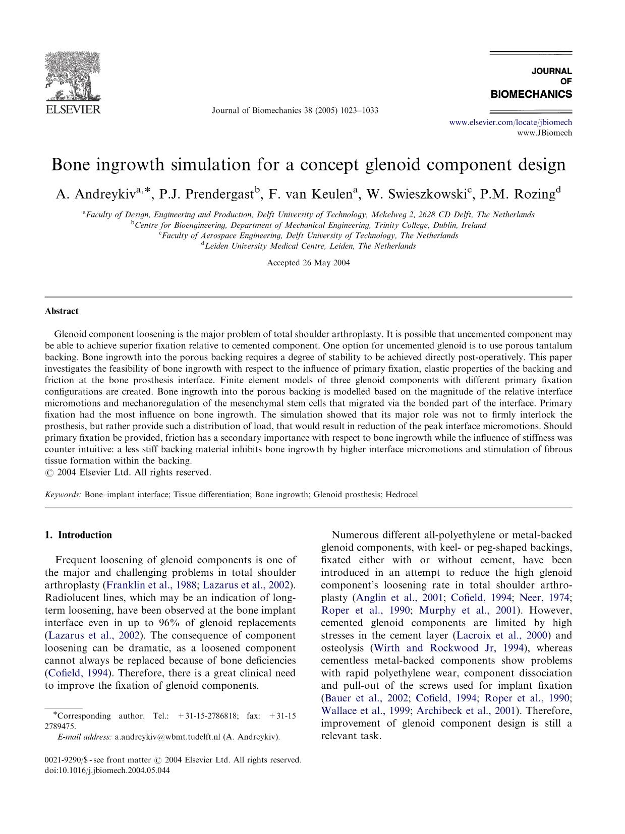 A capa do livro Bone ingrowth simulation for a concept glenoid component design