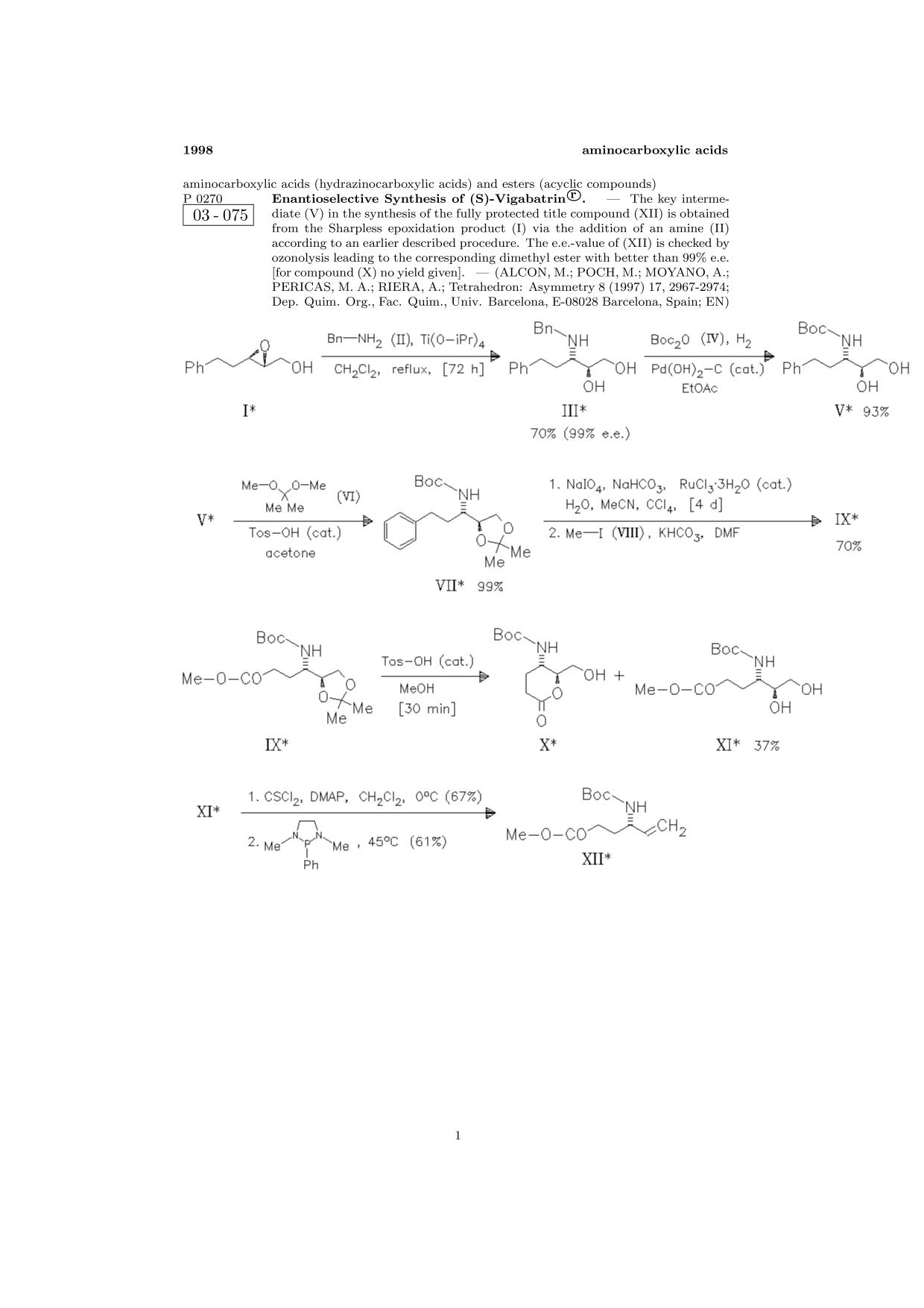 Sampul buku ChemInform Abstract: Enantioselective Synthesis of (S)-Vigabatrin®.<span></span>