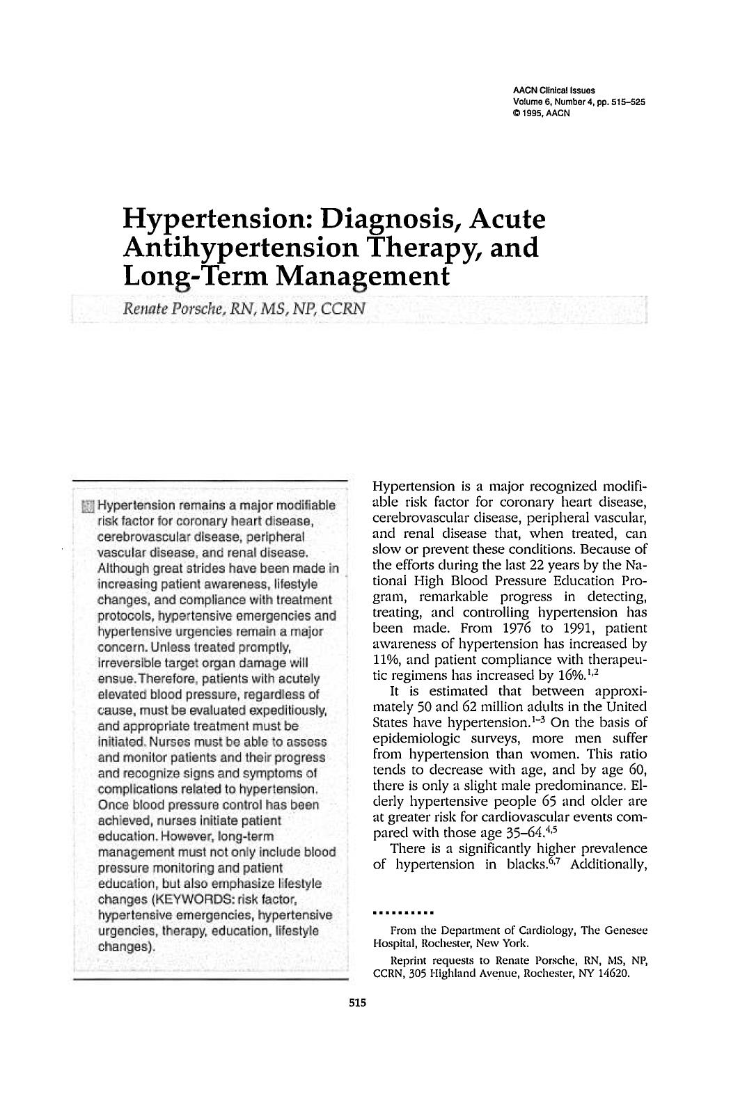 पुस्तक कवर Hypertension: Diagnosis, Acute Antihypertension Therapy, and Long-Term Management