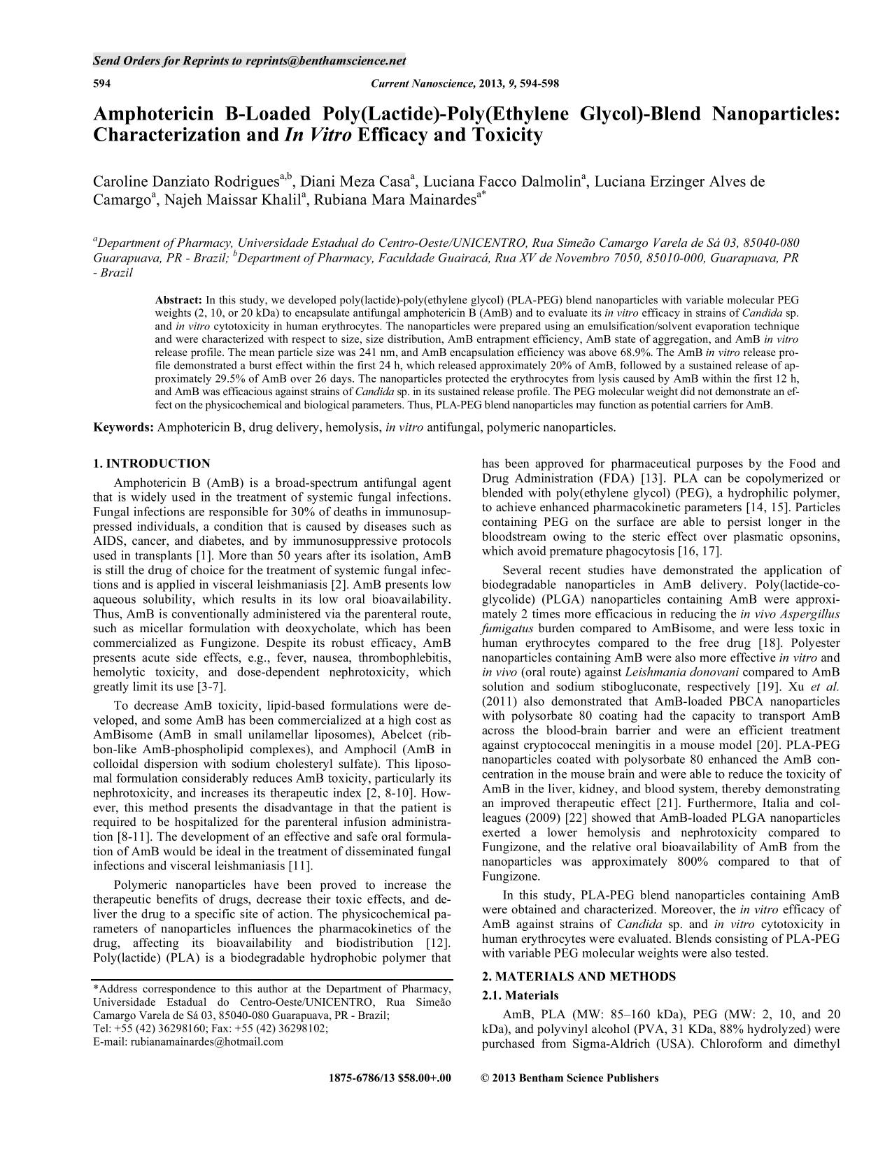 Kitabın üzlüyü Amphotericin B-Loaded Poly(Lactide)-Poly(Ethylene Glycol)-Blend Nanoparticles: Characterization and In Vitro Efficacy and Toxicity