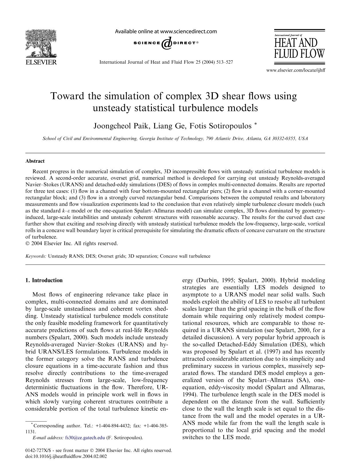 పుస్తక అట్ట Toward the simulation of complex 3D shear flows using unsteady statistical turbulence models