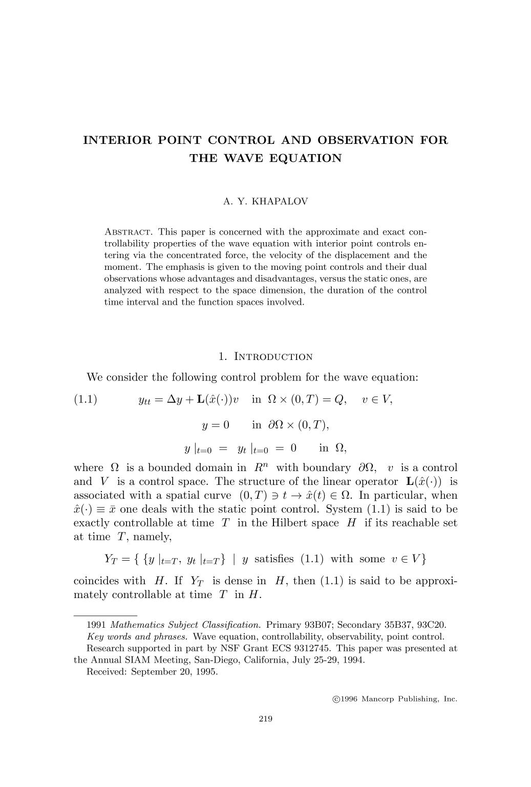 Book cover Interior point control and observation for the wave equation