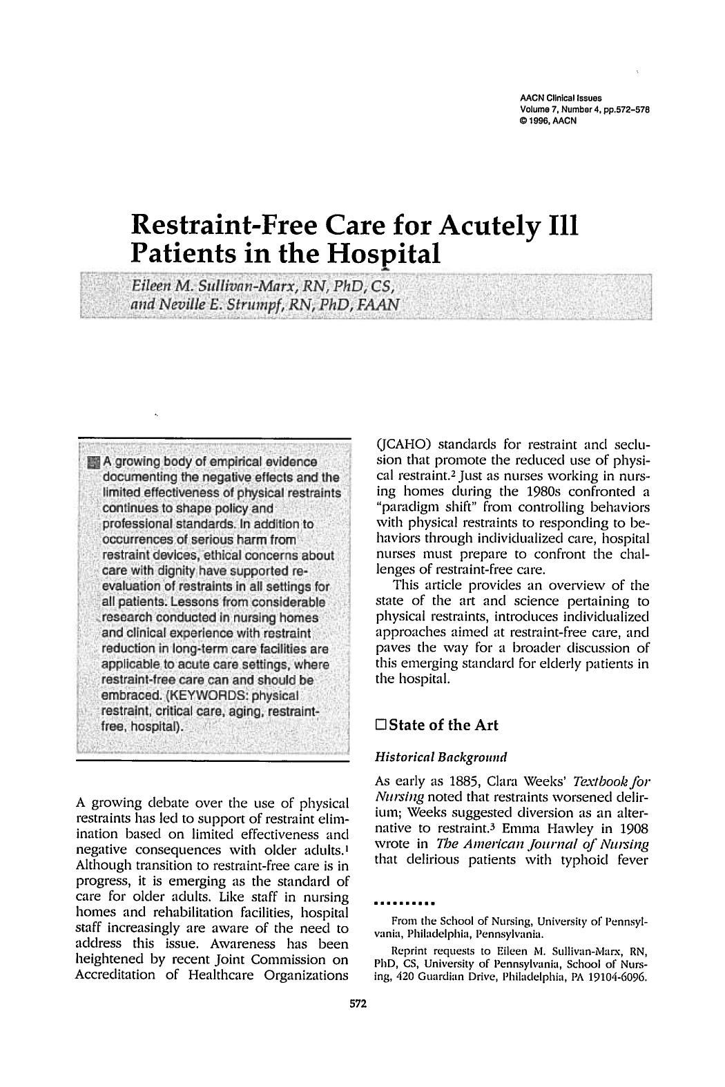 书籍封面 Restraint-Free Care for Acutely Ill Patients in the Hospital