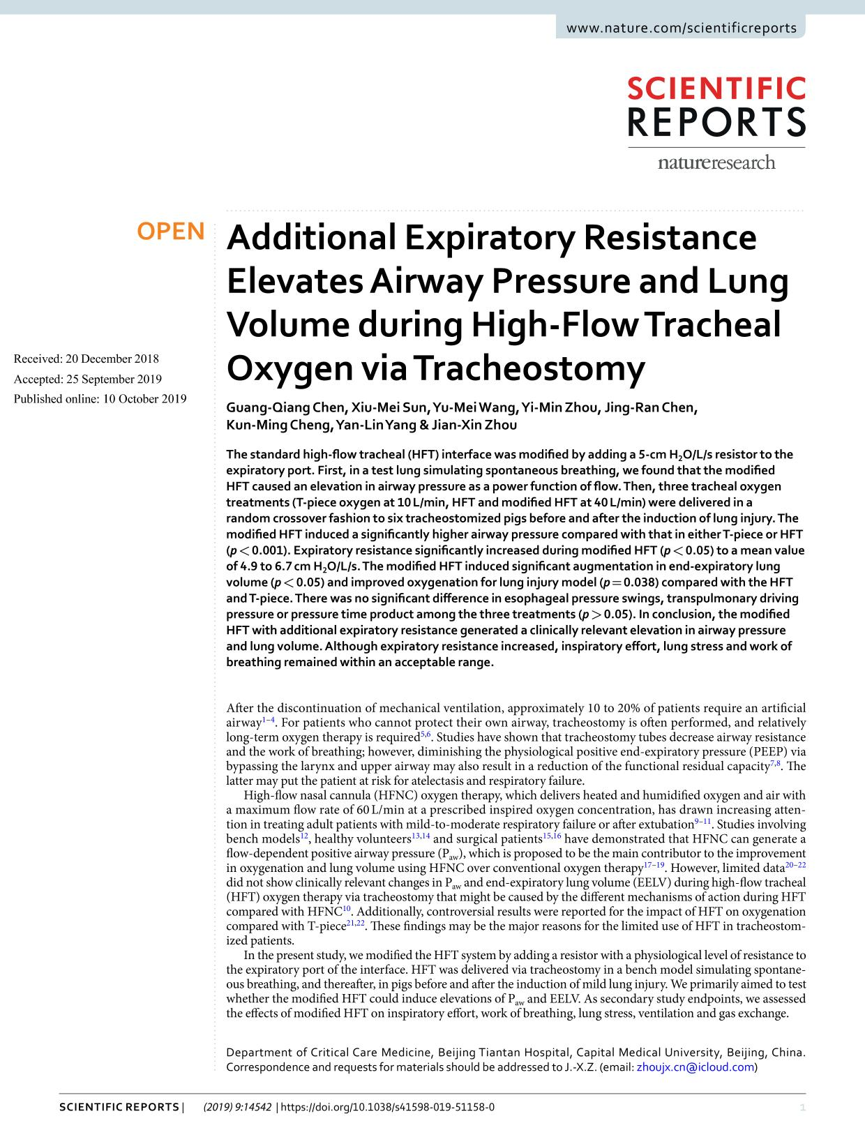 Portada del libro Additional Expiratory Resistance Elevates Airway Pressure and Lung Volume during High-Flow Tracheal Oxygen via Tracheostomy