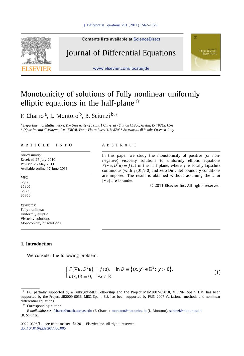 表紙 Monotonicity of solutions of Fully nonlinear uniformly elliptic equations in the half-plane
