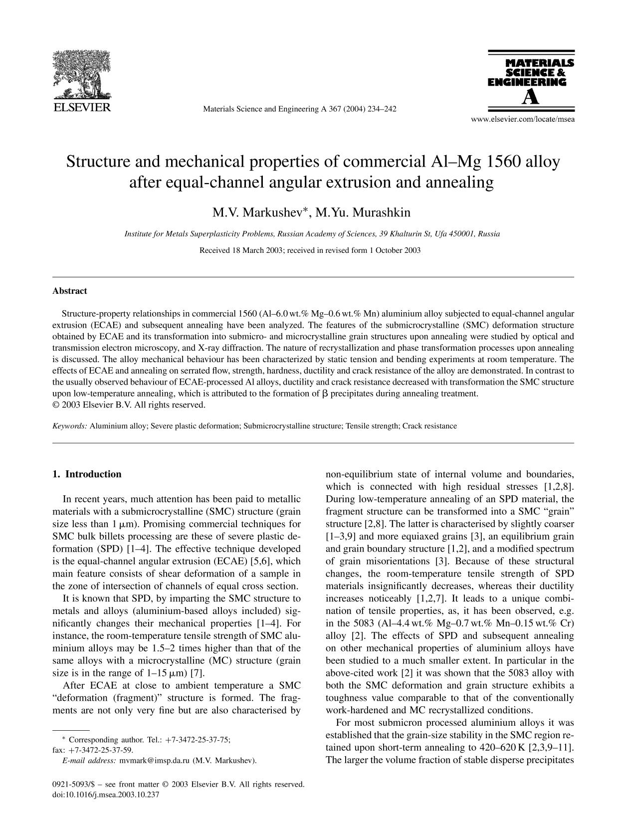 Обложка книги Structure and mechanical properties of commercial Al–Mg 1560 alloy after equal-channel angular extrusion and annealing