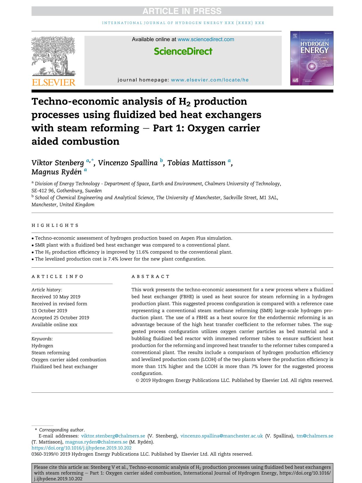 Κάλυψη βιβλίων Techno-economic analysis of H2 production processes using fluidized bed heat exchangers with steam reforming – Part 1: Oxygen carrier aided combustion