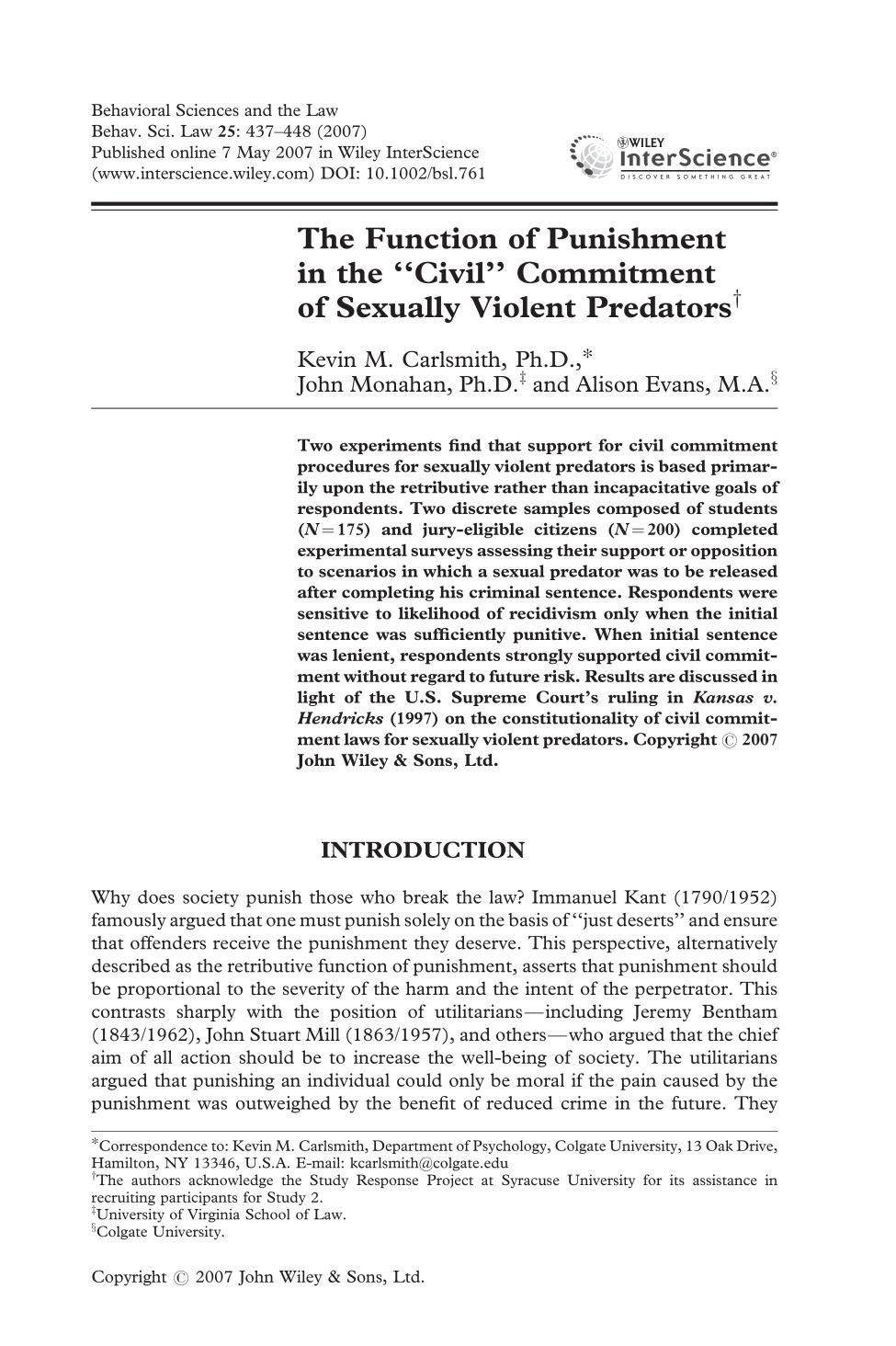 "Buchcover The function of punishment in the ""civil"" commitment of sexually violent predators"